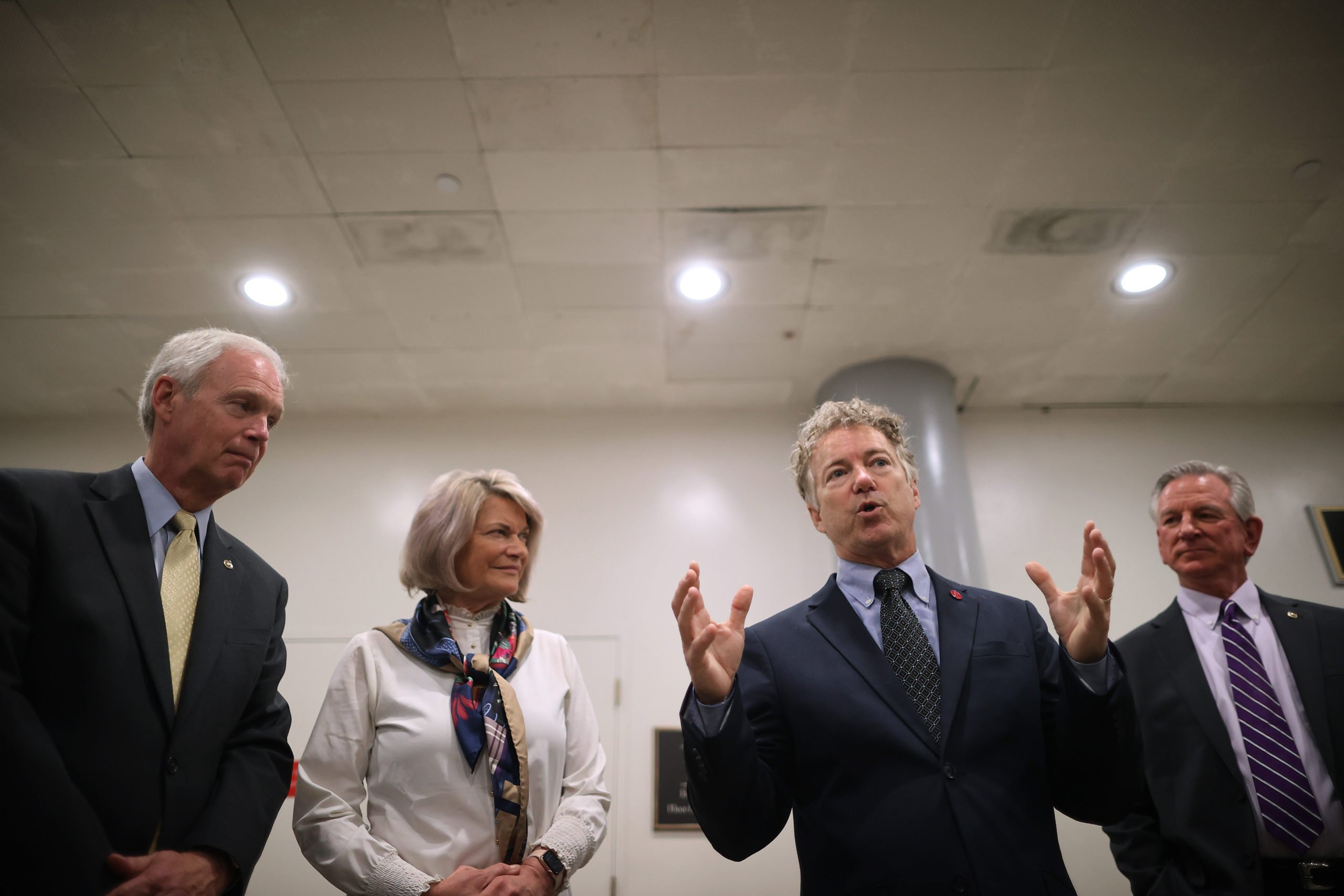 Republican Senators Ron Johnson, Cynthia Lummis, Rand Paul Tommy Tuberville speak about their objections to the Chinese trade bill on May 28. (Chip Somodevilla/Getty Images)