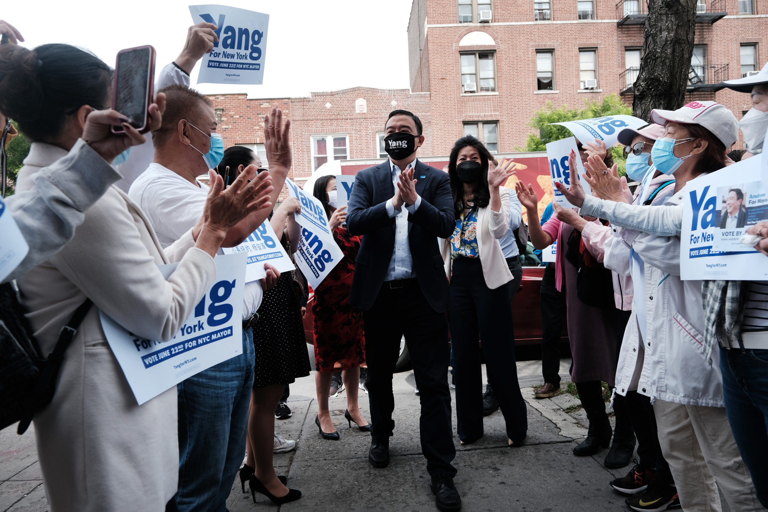 NYC Mayoral Candidate Andrew Yang Delivers Speech At Campaign Office Opening
