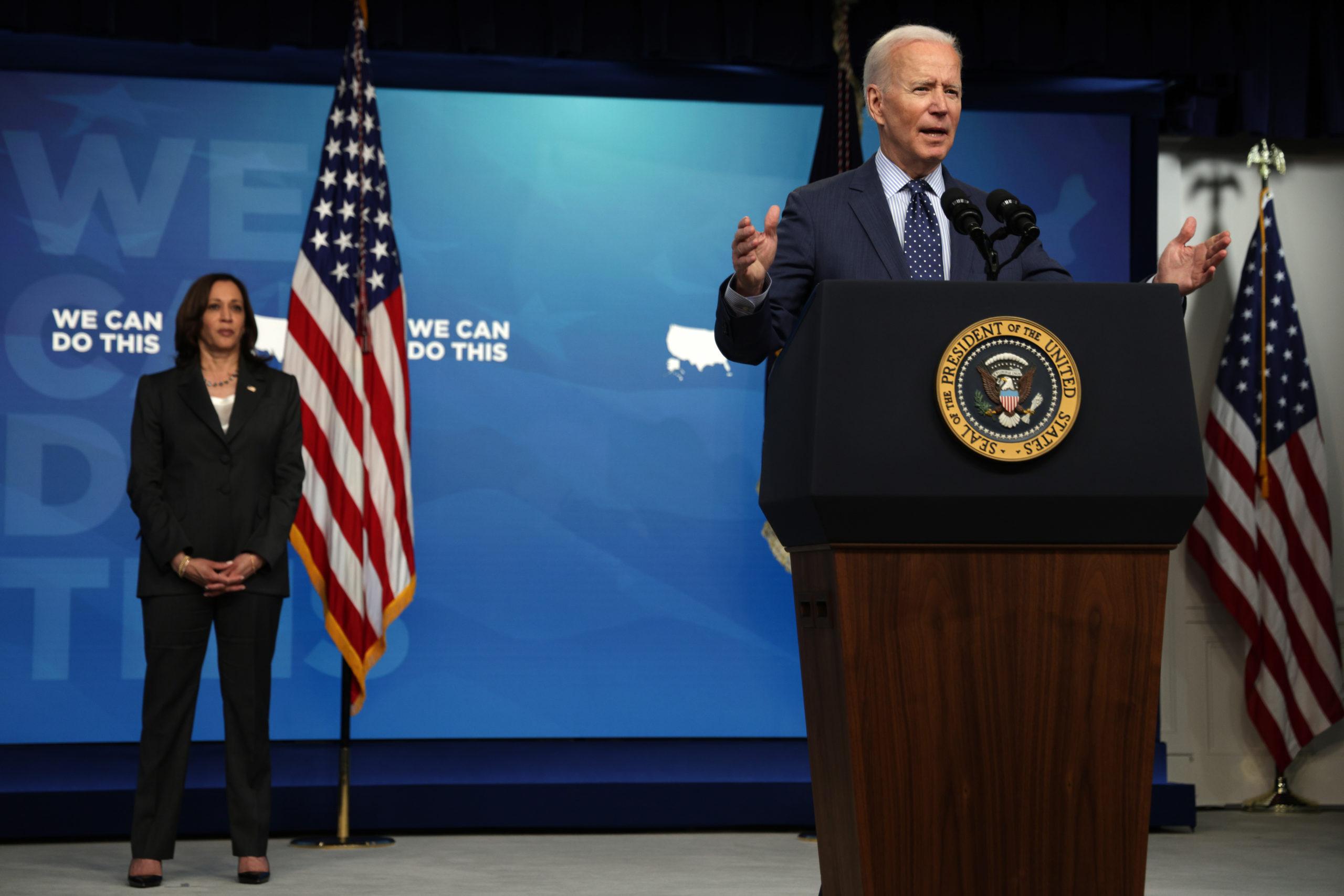 President Joe Biden speaks at the White House on Wednesday. (Alex Wong/Getty Images)