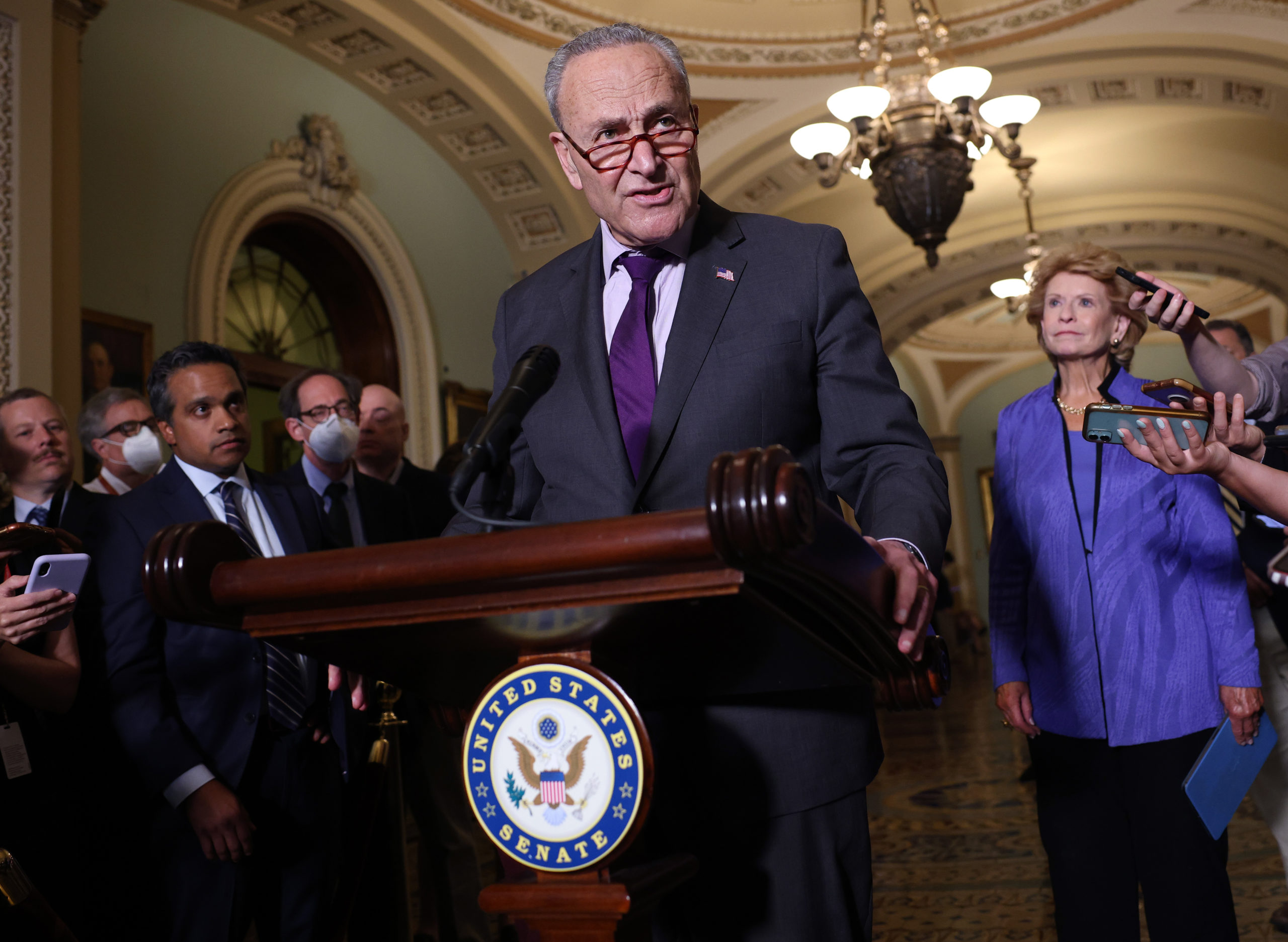 Senate Majority Leader Chuck Schumer announced his support of the 2002 AUMF repeal this week. (Kevin Dietsch/Getty Images)