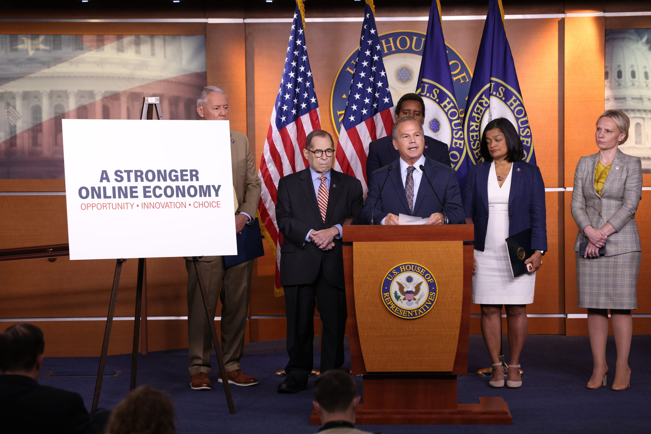 Rep. David Cicilline unveils antitrust legislation during a news conference on June 16. (Win McNamee/Getty Images)