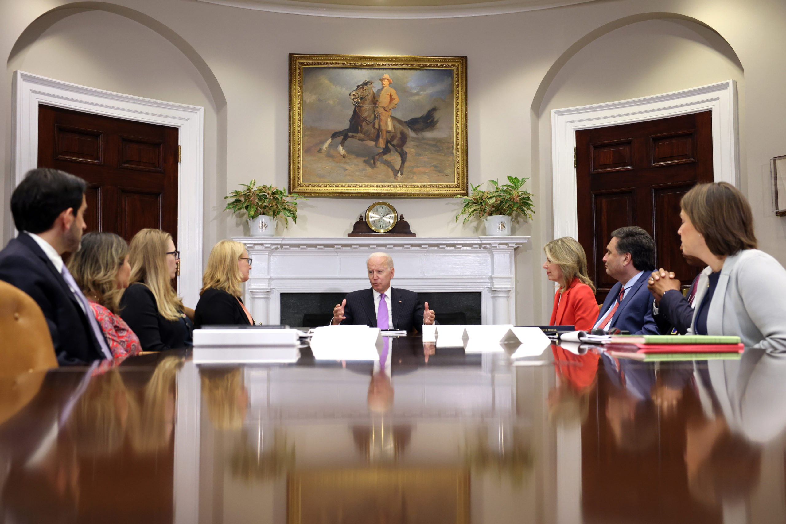 President Joe Biden delivers remarks at a meeting with top administration officials Tuesday. (Kevin Dietsch/Getty Images)