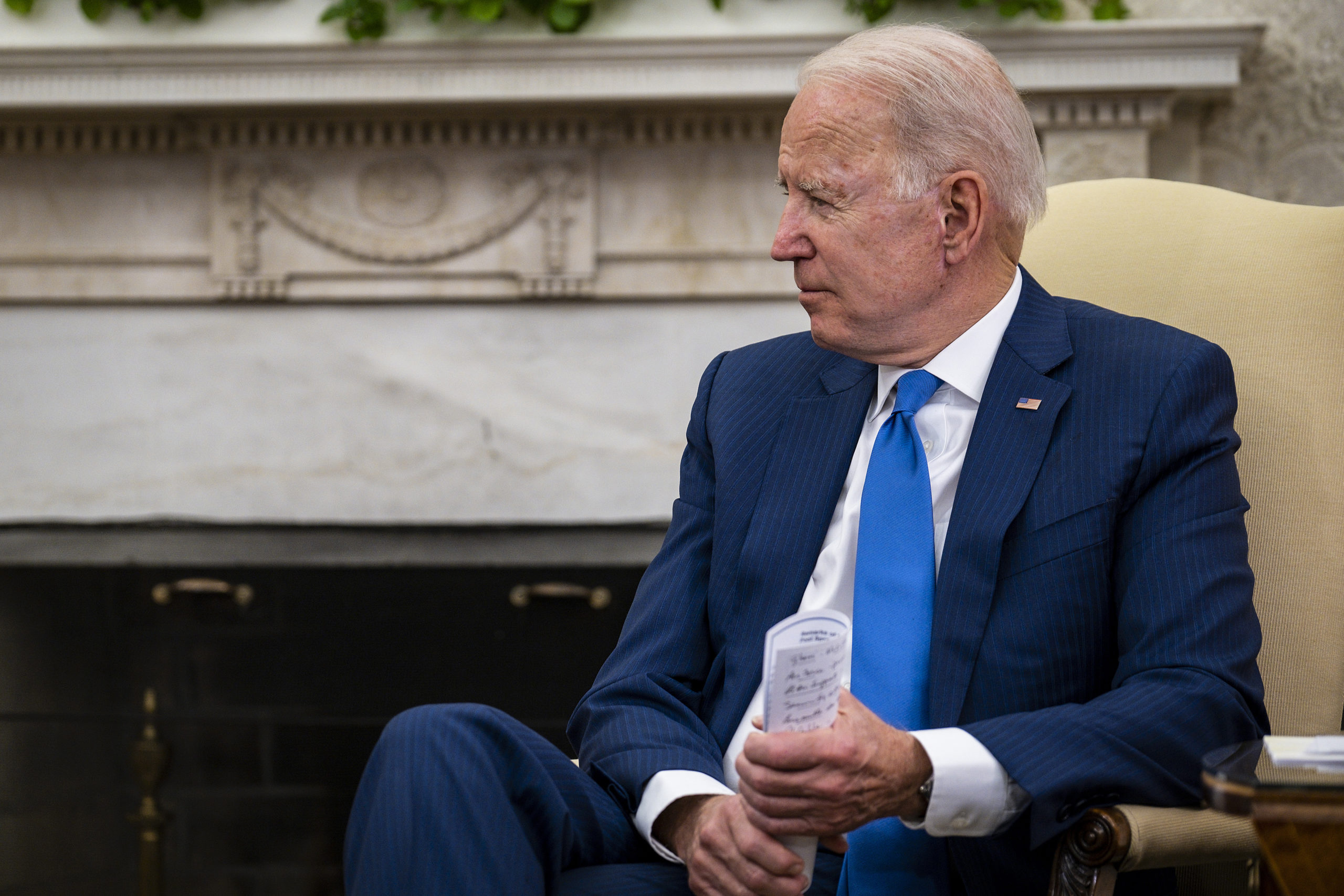 U.S. President Joe Biden makes brief remarks while hosting Afghanistan President Ashraf Ghani and Dr. Abdullah Abdullah, Chairman of the High Council for National Reconciliation, in the Oval Office at the White House June 25, 2021 in Washington, DC. (Pete Marovich-Pool/Getty Images)