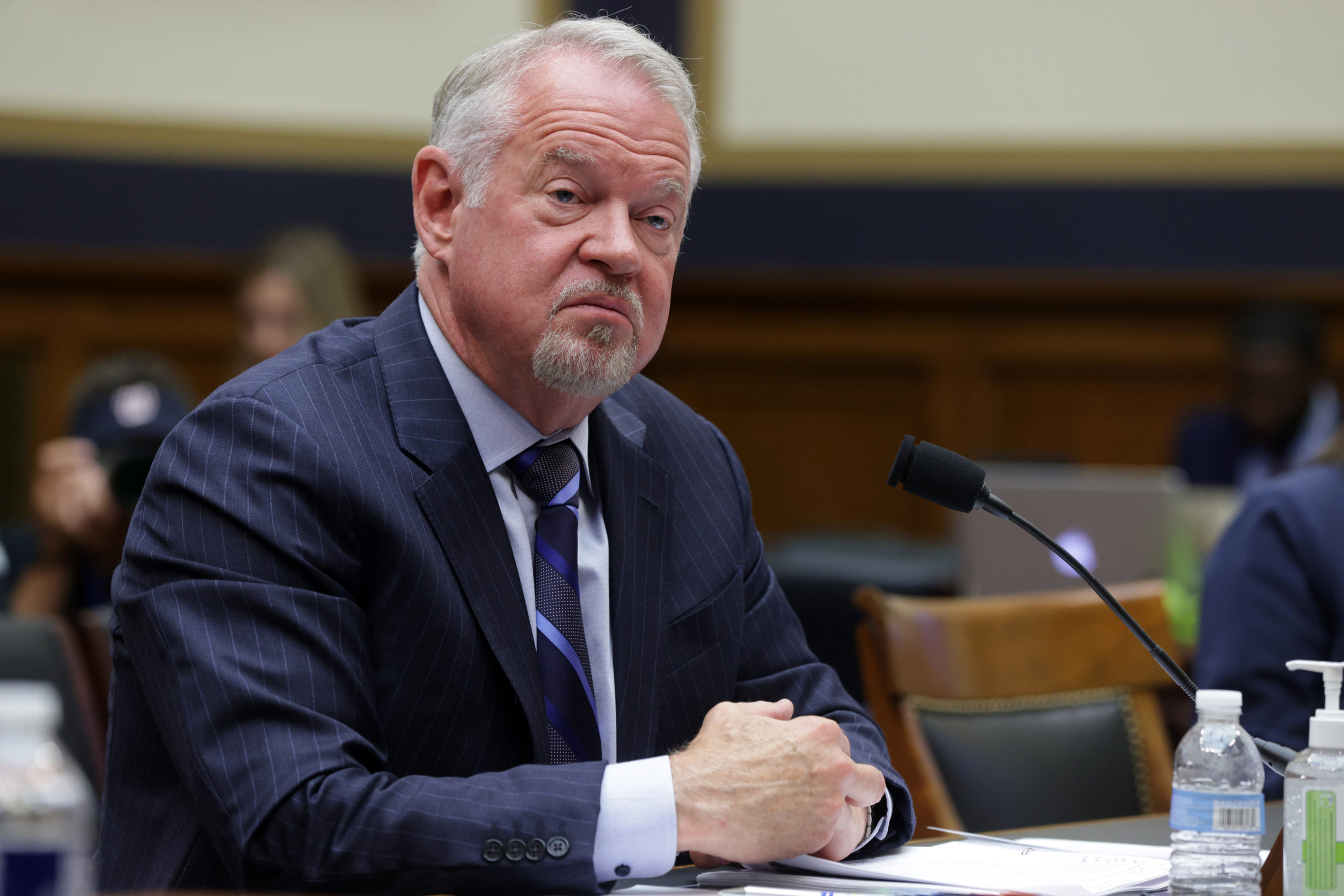 """WASHINGTON, DC - JUNE 30: Corporate Vice President of Customer Security & Trust at Microsoft Tom Burt testifies during a hearing before the House Judiciary Committee at Rayburn House Office Building June 30, 2021 in Washington, DC. The committee held a hearing to examine """"Secrecy Orders and Prosecuting Leaks: Potential Legislative Responses to Deter Prosecutorial Abuse of Power."""" (Photo by Alex Wong/Getty Images)"""