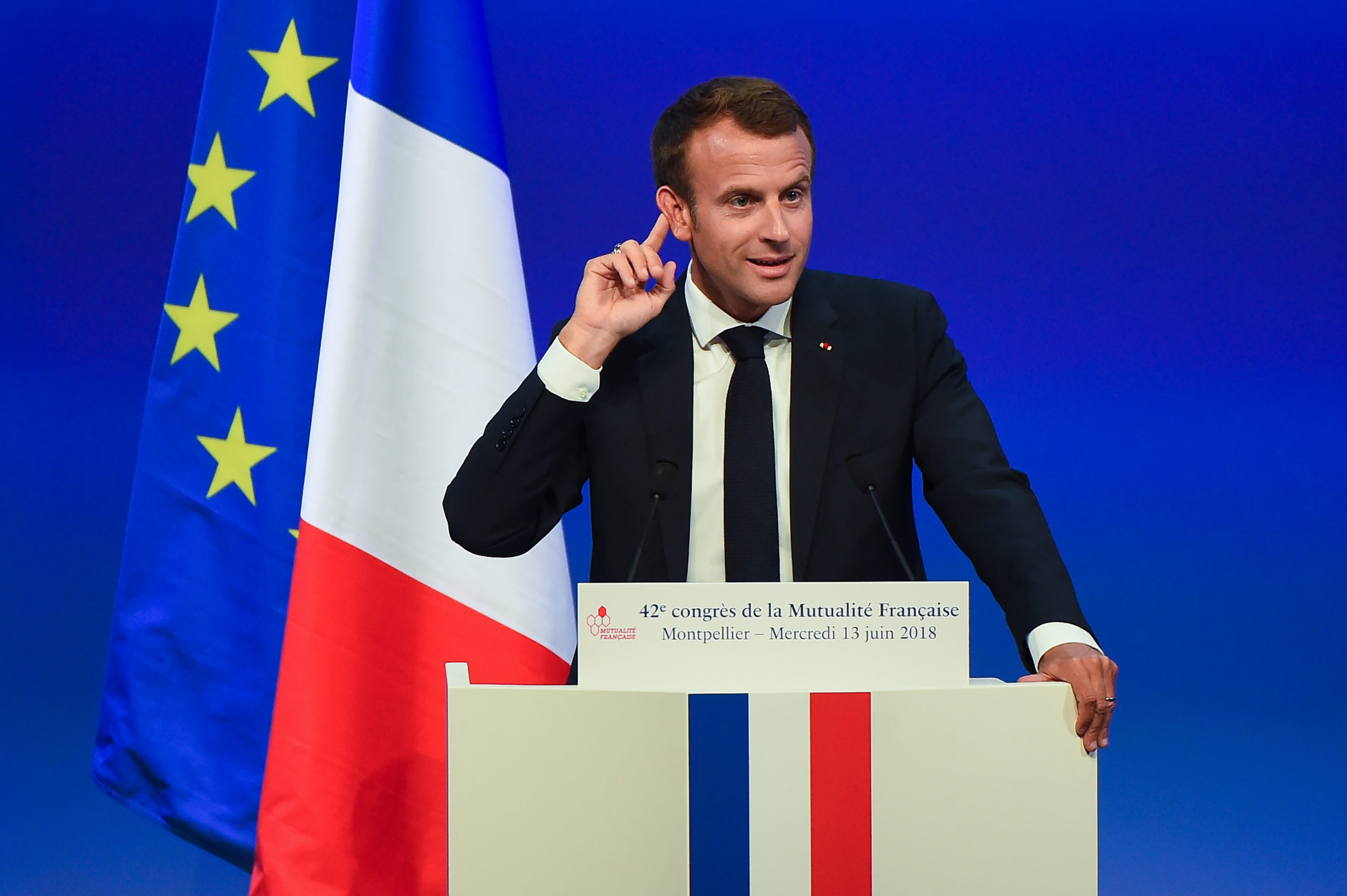 French President Emmanuel Macron gives a speech on social security policies during the '42nd Congres de la mutualite francaise' in the southern city of Montpellier on June 13, 2018. (Photo by SYLVAIN THOMAS / AFP) (Photo by SYLVAIN THOMAS/AFP via Getty Images)