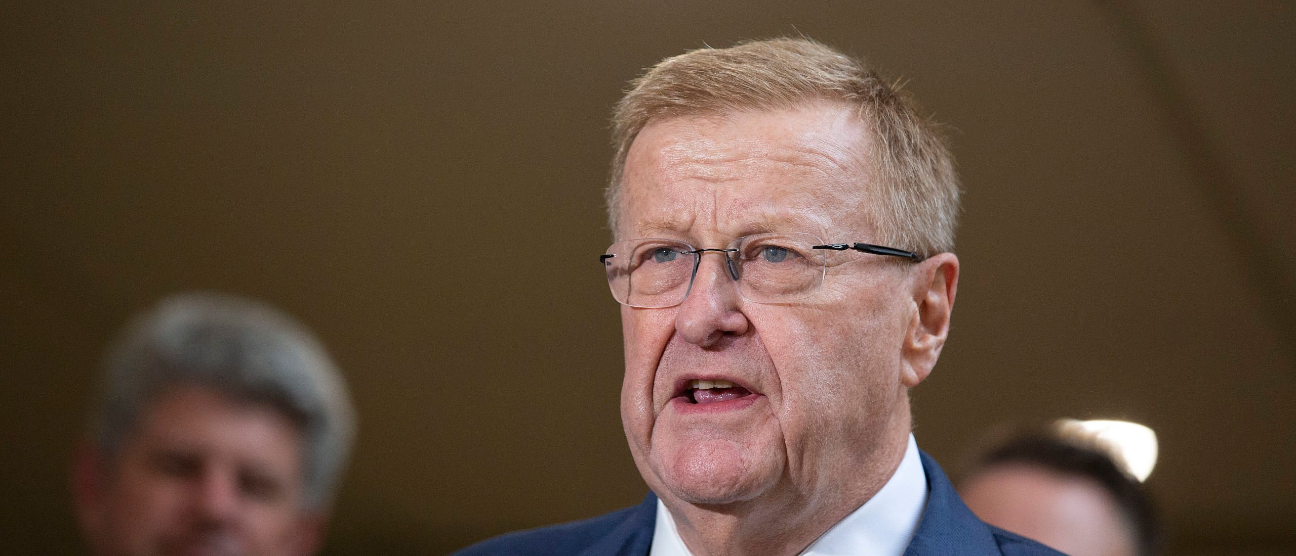 President of the Australian Olympic Committee John Coates speaks to the media during a press conference after the IOC announced targeted dialogue ahead of the 2032 Brisbane Olympic Games bid, at Queensland Parliament House on February 25, 2021 in Brisbane, Australia. (Photo by Jono Searle/Getty Images)