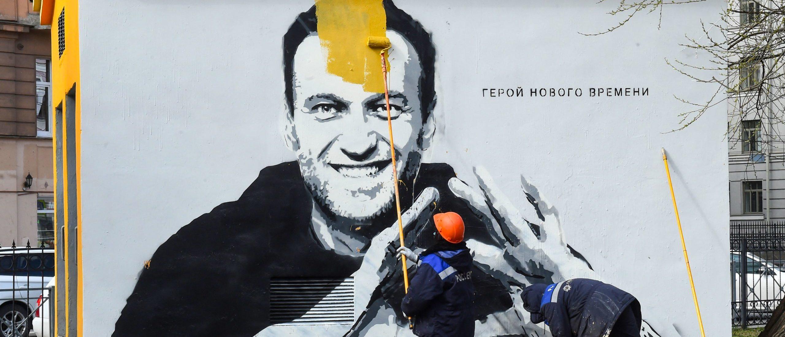 Mural of Alexei Navalny in Saint Petersburg, Russia.(Photo by OLGA MALTSEVA/AFP via Getty Images)