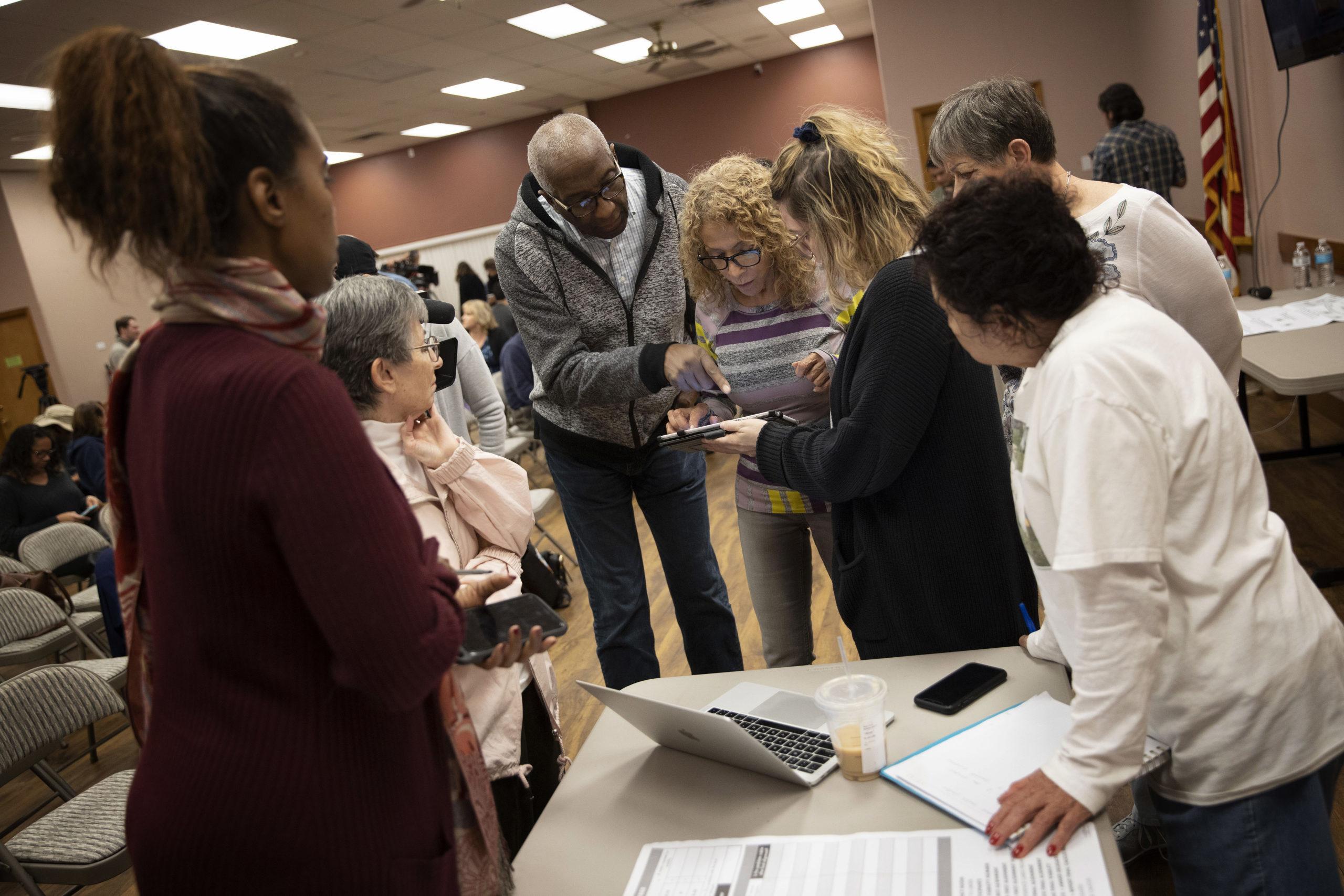 Nevada Caucus volunteers receive training for recording caucus results February 20, 2020 in Las Vegas, Nevada. Nevada holds its caucus on February 22.