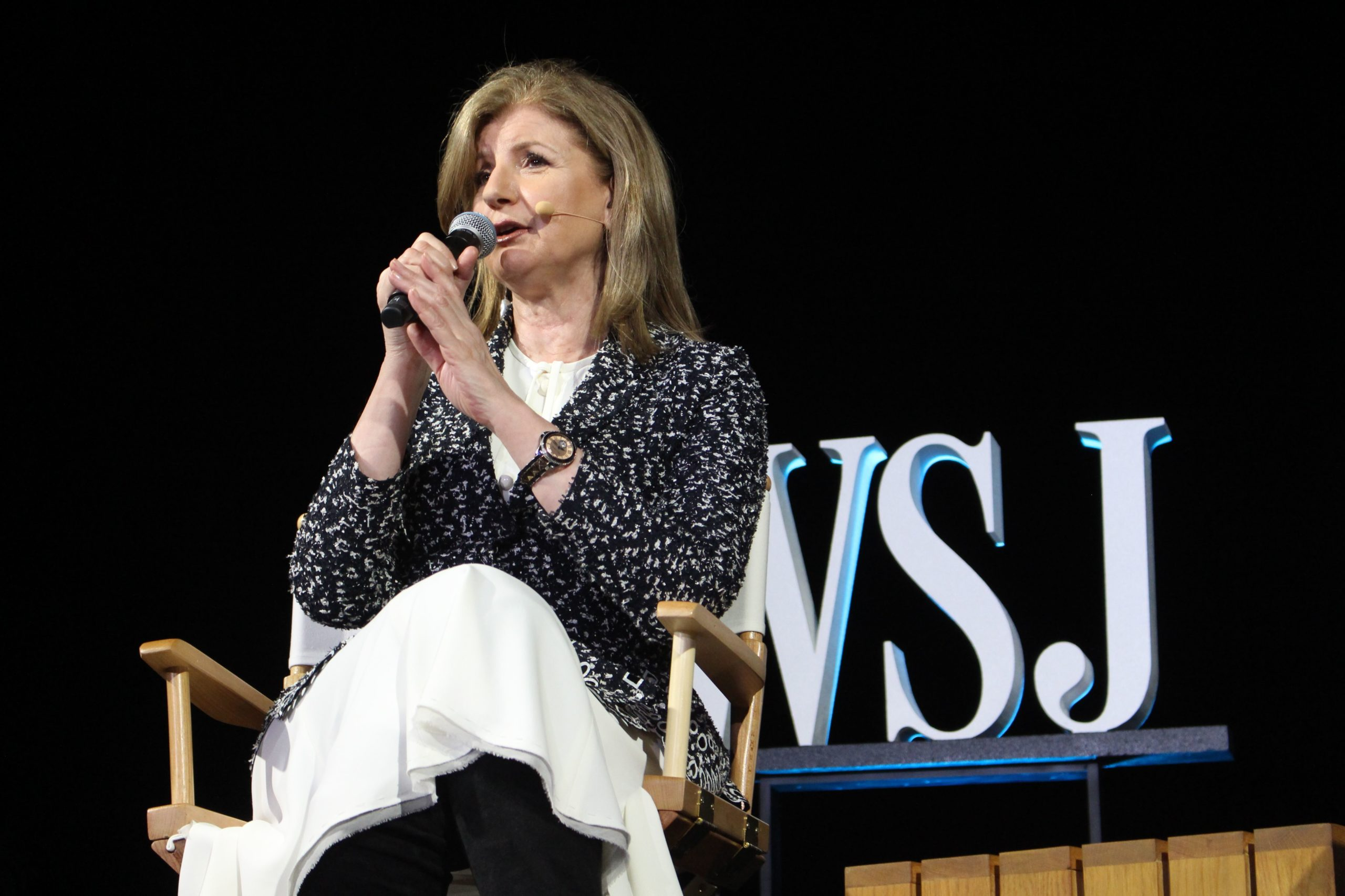 Uber board member Arianna Huffington speaks at a WSJD Live conference in Laguna Beach, California, on October 16, 2017. (Photo by GLENN CHAPMAN/AFP via Getty Images)