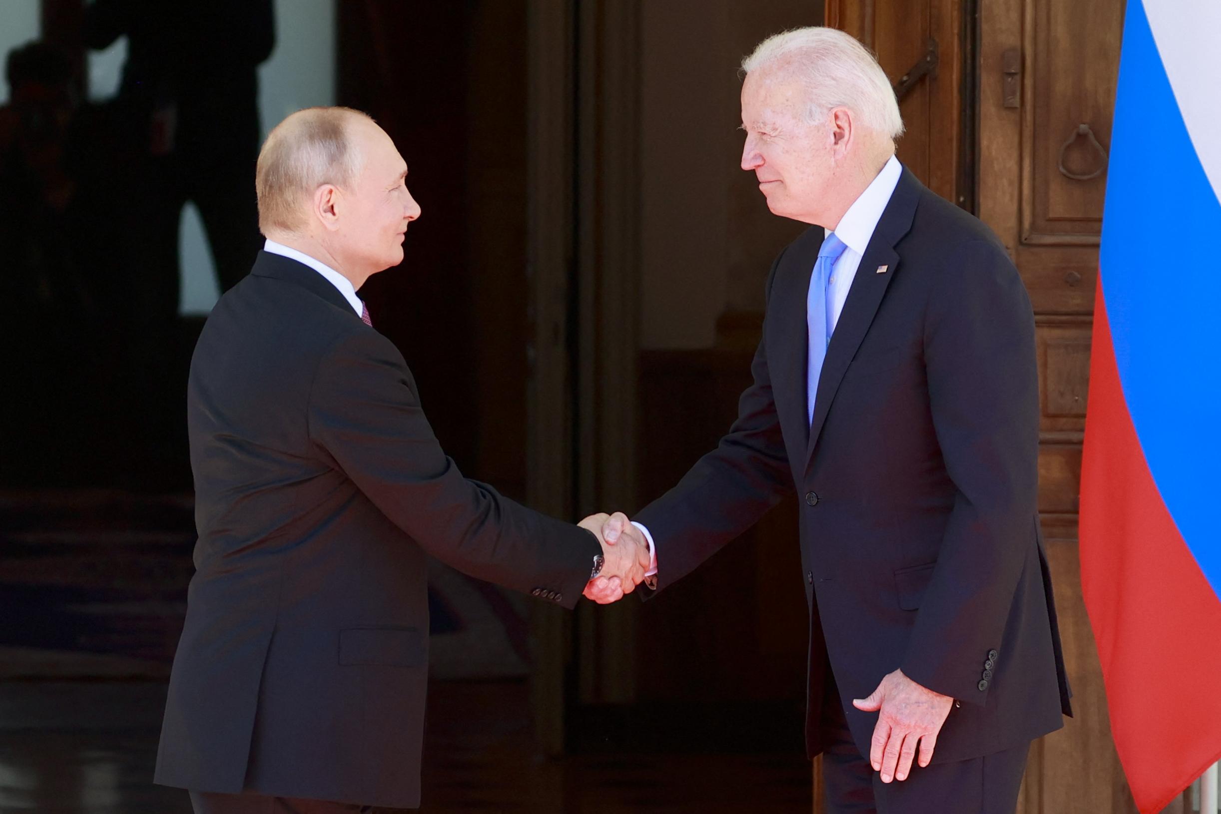 President Joe Biden meets with Vladimir Putin in Geneva. (Photo by DENIS BALIBOUSE/POOL/AFP via Getty Images)