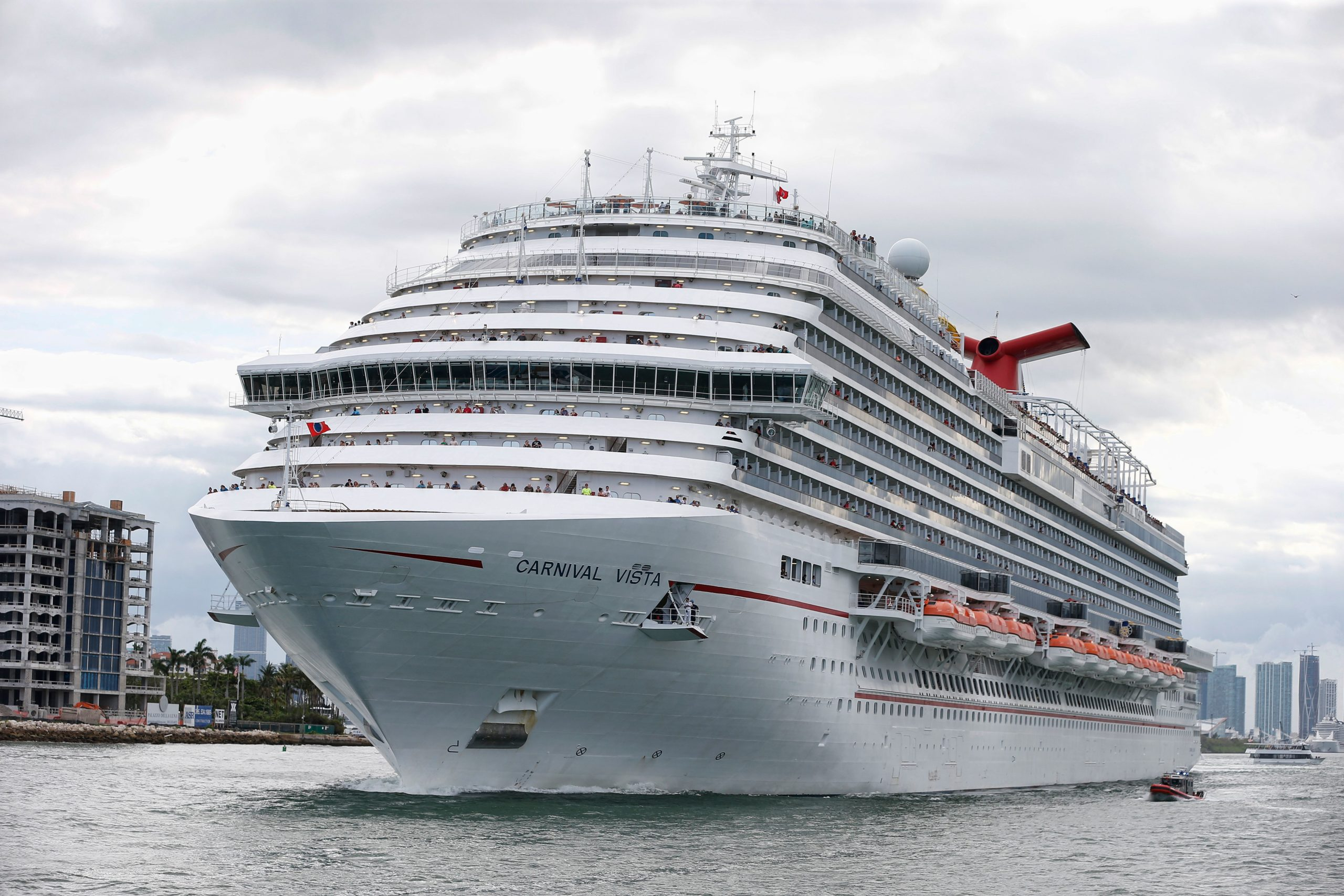 The Carnival Cruise Ship 'Carnival Vista' heads out to sea. (Photo by RHONA WISE / AFP via Getty Images)