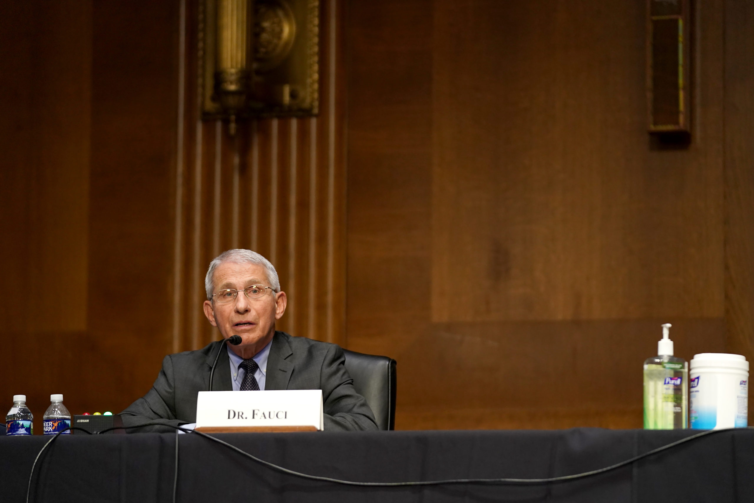 Dr. Anthony Fauci speaks during a Senate Health, Education, Labor and Pensions Committee hearing. (Photo by Greg Nash-Pool/Getty Images)