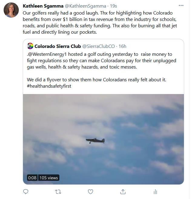 A screen grab of Colorado Sierra Club's tweet and Western Energy Alliance President Kathleen Sgamma's response. (Screenshot/Twitter)