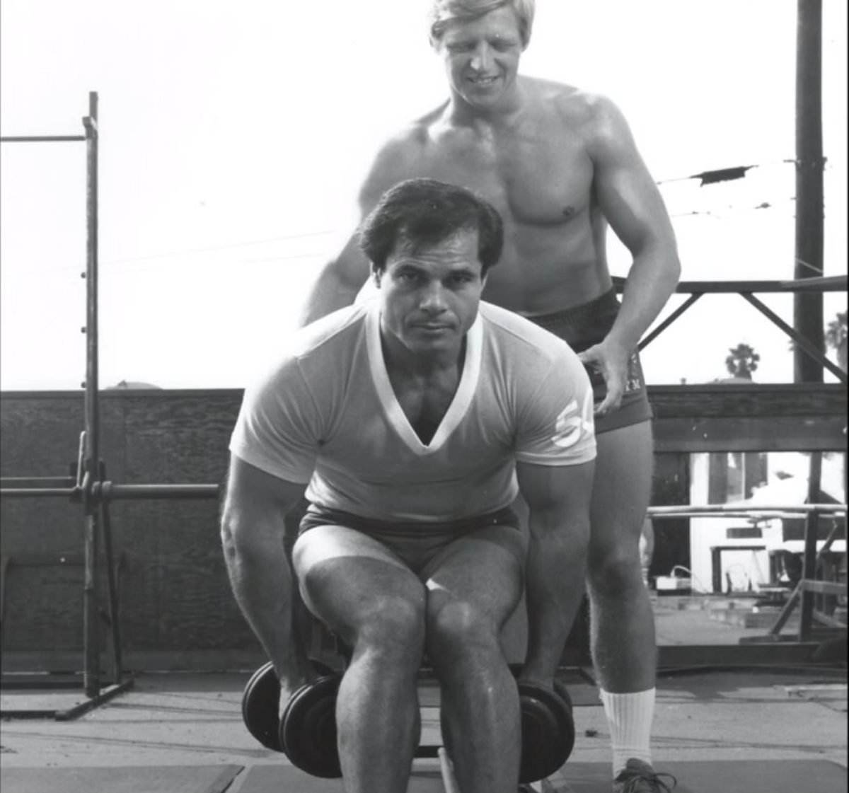 Rick Newcombe and Franco Columbu working out together. Screenshot (YouTube/Rick Newcombe).