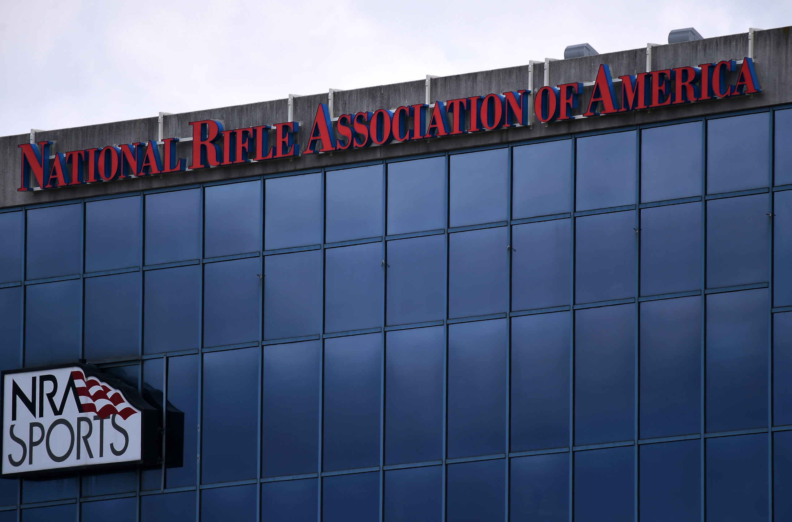 The National Riffle Association of America (NRA) headquarters on August 6, 2020 in Fairfax, Virginia. (Photo by OLIVIER DOULIERY/AFP via Getty Images)