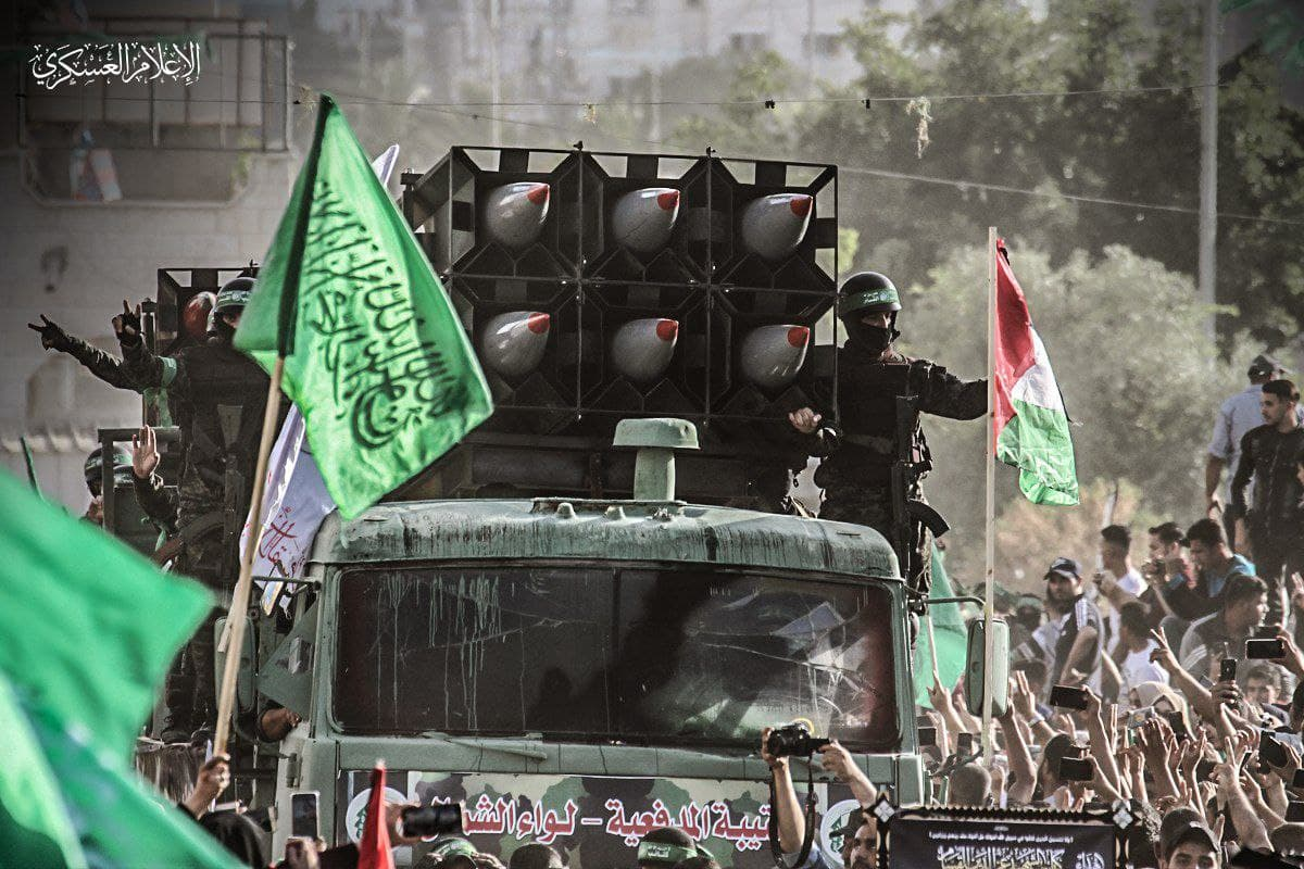 Picture released by Hamas showing its militants on a vehicle in a parade in Gaza following the end of a two week war with Israel in May (Photo: Hamas/Press Release)