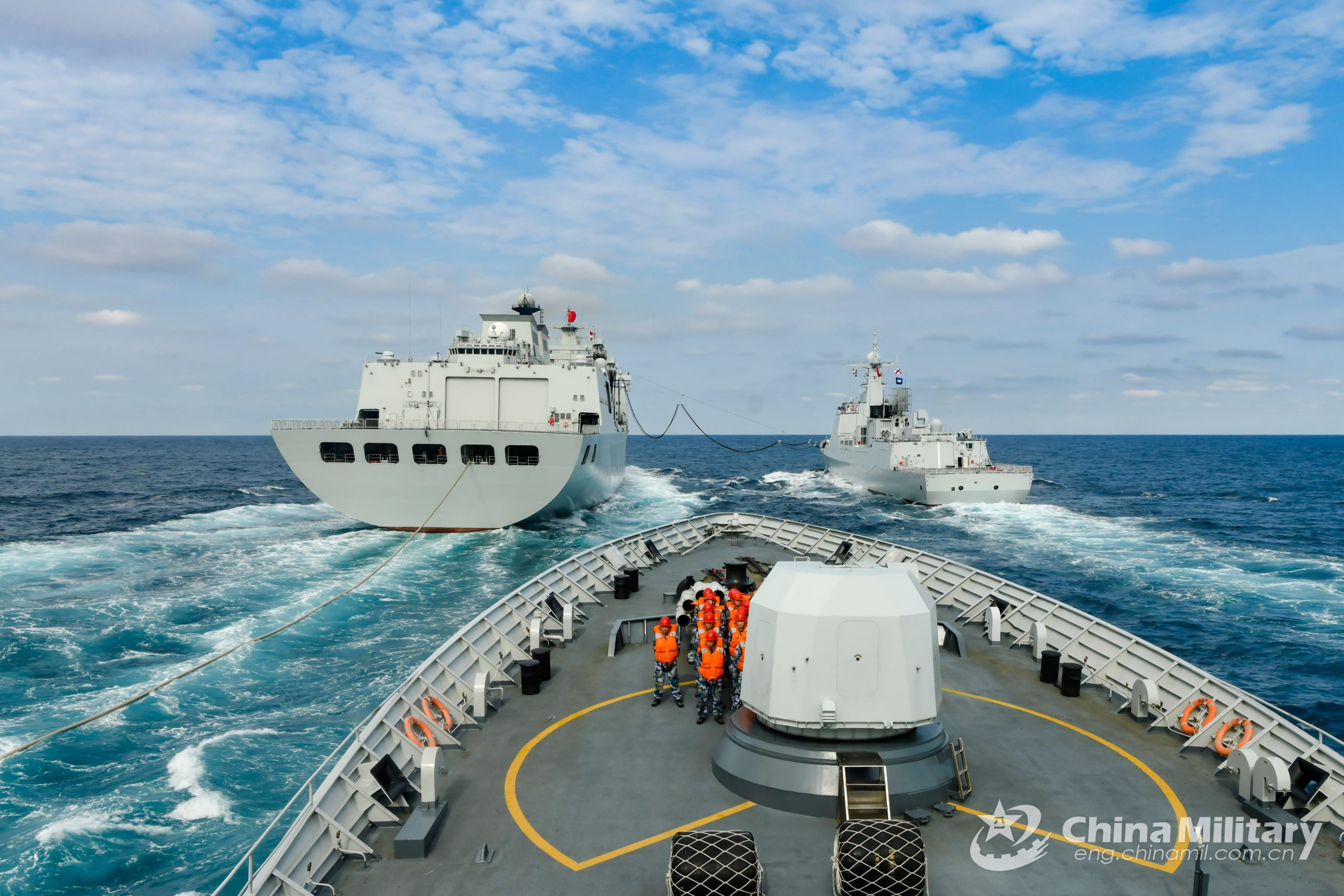 Chinese warships attached to a destroyer flotilla under the PLA Southern Theater Command perform a training exercise in the South China Sea. (China Military Online/Li Wei)
