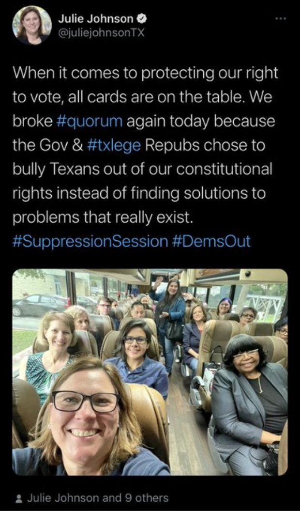 The deleted tweet from Texas State Rep. Julie Johnson