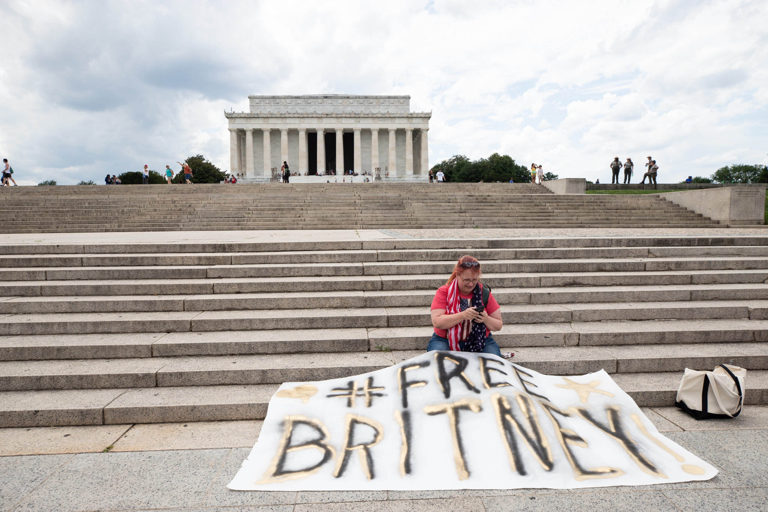 """A crowd gathered for a """"free Britany"""" rally to call attention to the pop star's battle over her conservatorship in Washington, D.C. on July 14, 2021. (Kaylee Greenlee- Daily Caller News Foundation)"""