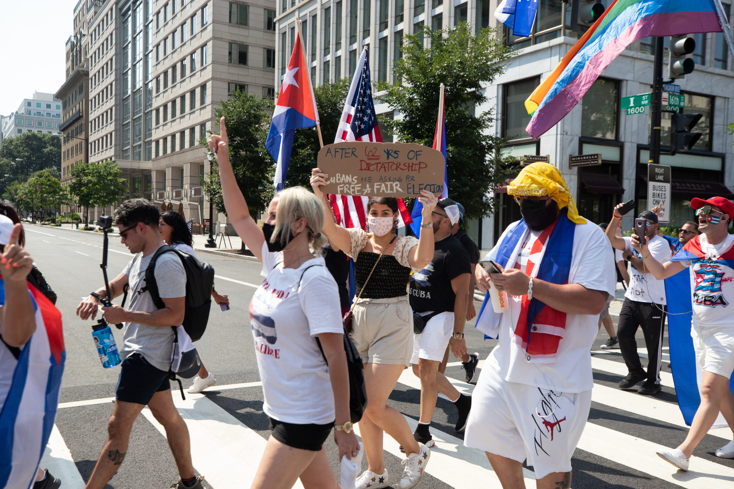 Demonstrators participated in a rally for Cuban freedom near the White House where attendees asked President Joe Biden to intervene and end communist rule over the country, in Washington, D.C. on July 26, 2021. (Kaylee Greenlee - Daily Caller News Foundation)