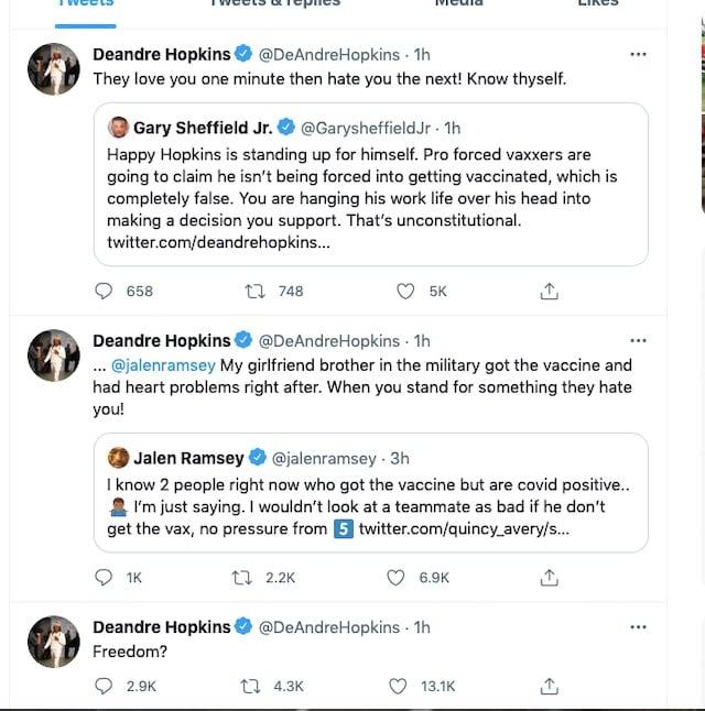 DeAndre Hopkins [Screenshot/DeAndre Hopkins Twitter, Deleted Tweet]