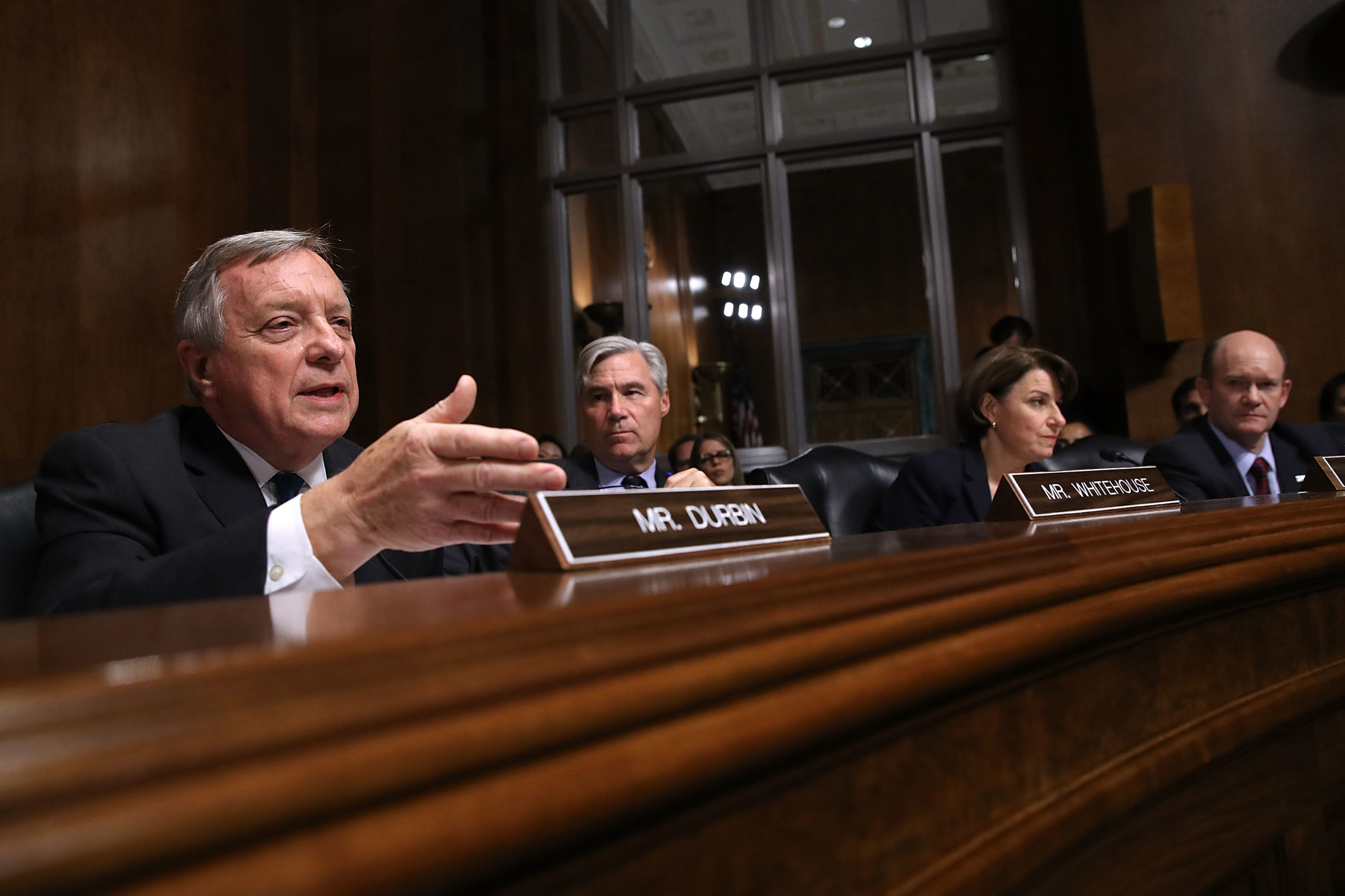 Senate Judiciary Committee members Richard Durbin, Sheldon Whitehouse, Amy Klobuchar and Chris Coons question Brett Kavanaugh during his confirmation hearing in September 2018. (Win McNamee/Getty Images)
