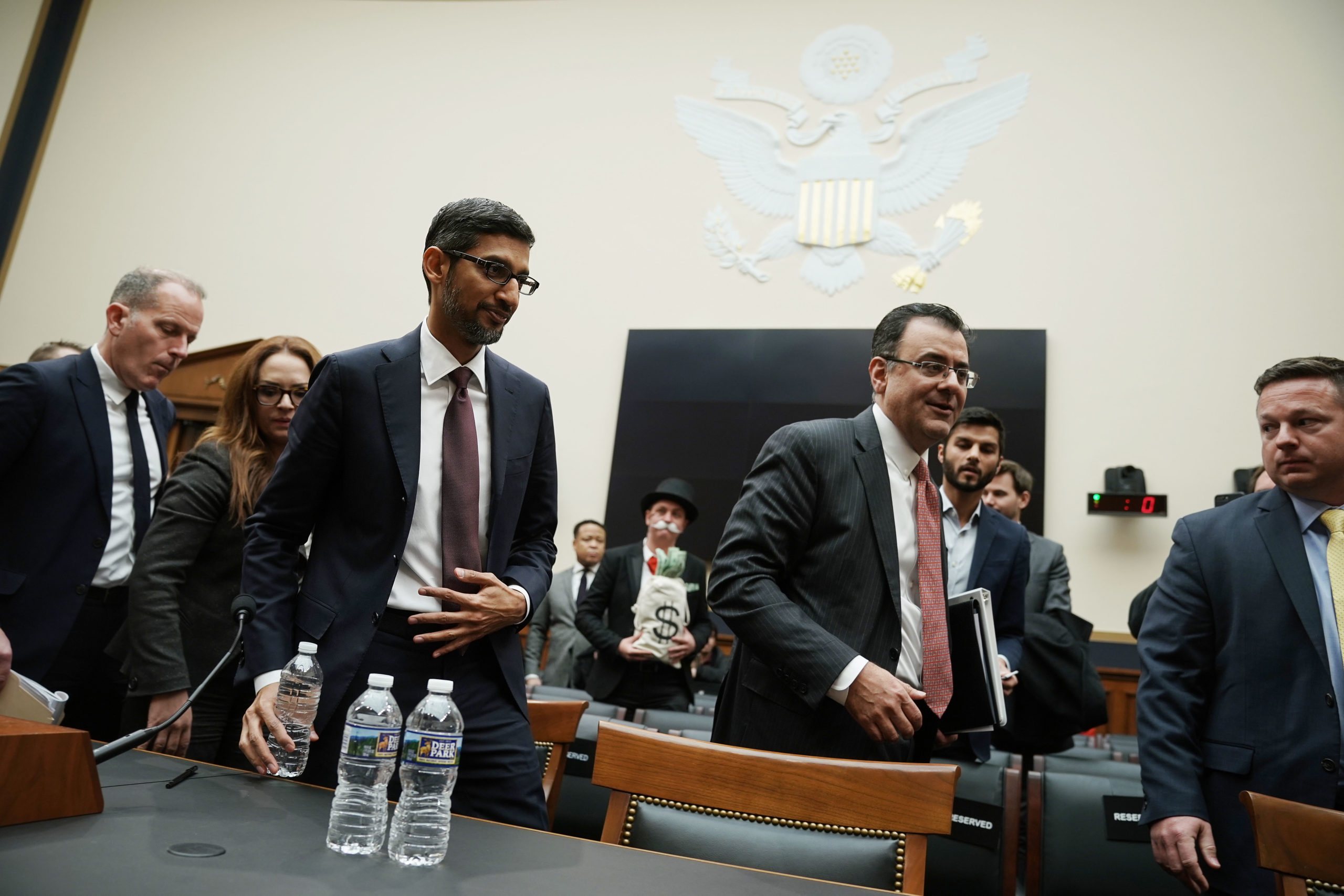 Google CEO Sundar Pichai departs a House Judiciary Committee hearing on Dec. 11, 2018. (Alex Wong/Getty Images)