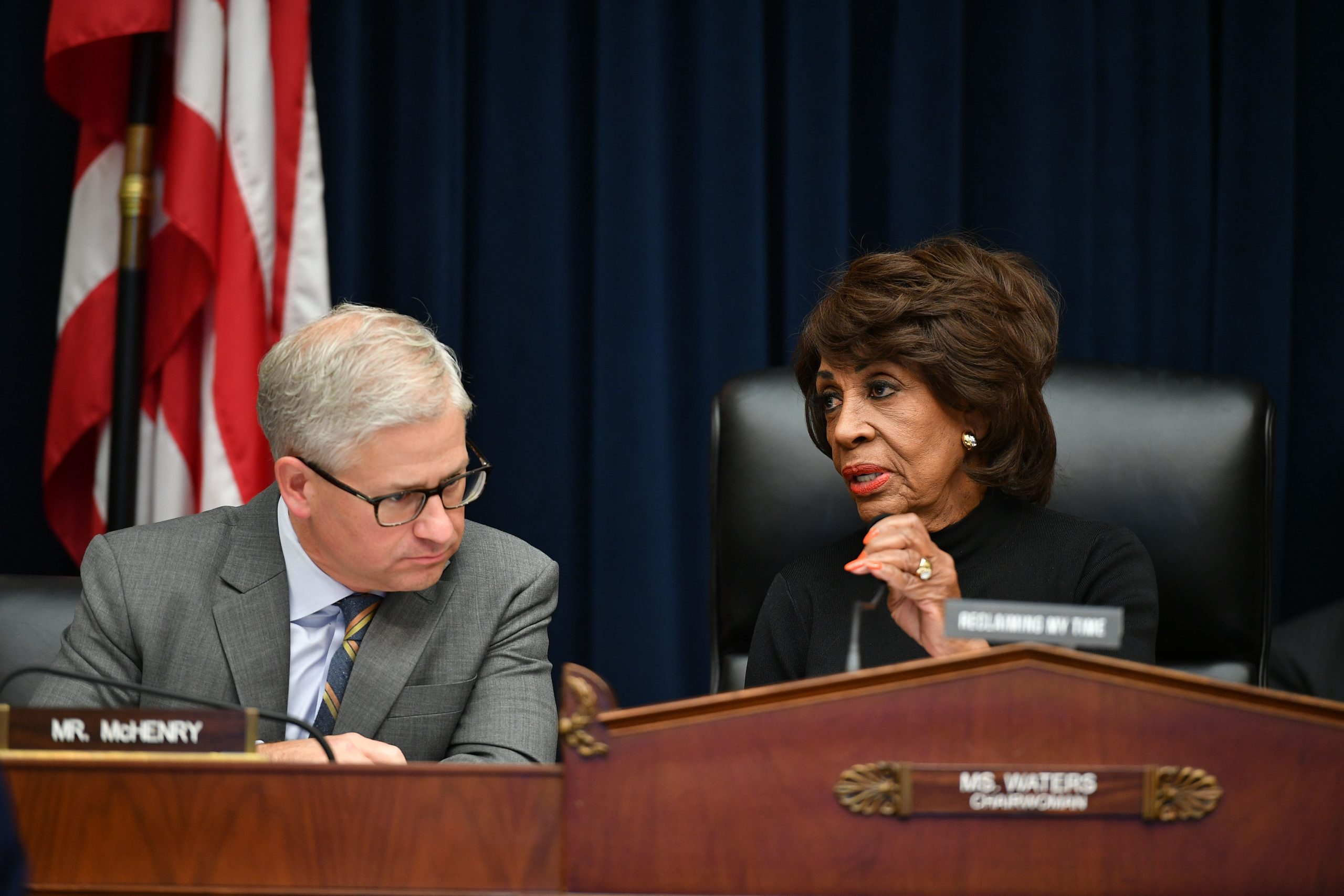 Financial Services Chair Maxine Waters speaks with Ranking Member Patrick McHenry before a hearing on Oct. 23, 2019. (Mandel Ngan/AFP via Getty Images)