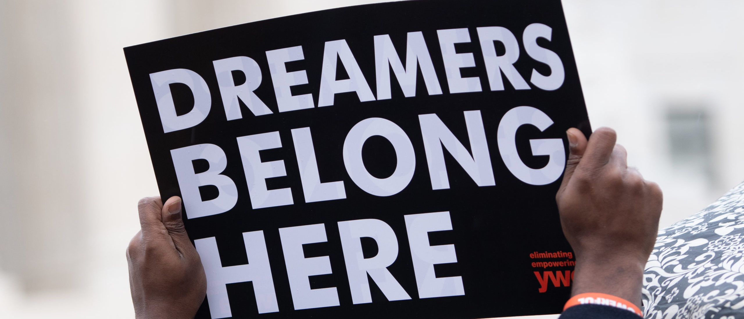 """Immigration rights activists hold a rally in front of the US Supreme Court in Washington, DC, November 12, 2019, as the Court hears arguments about ending the Obama-era DACA (Deferred Action for Childhood Arrivals) program. - The US Supreme Court hears arguments on November 12, 2019 on the fate of the """"Dreamers,"""" an estimated 700,000 people brought to the country illegally as children but allowed to stay and work under a program created by former president Barack Obama.Known as Deferred Action for Childhood Arrivals or DACA, the program came under attack from President Donald Trump who wants it terminated, and expired last year after the Congress failed to come up with a replacement. (Photo by SAUL LOEB / AFP) (Photo by SAUL LOEB/AFP via Getty Images)"""