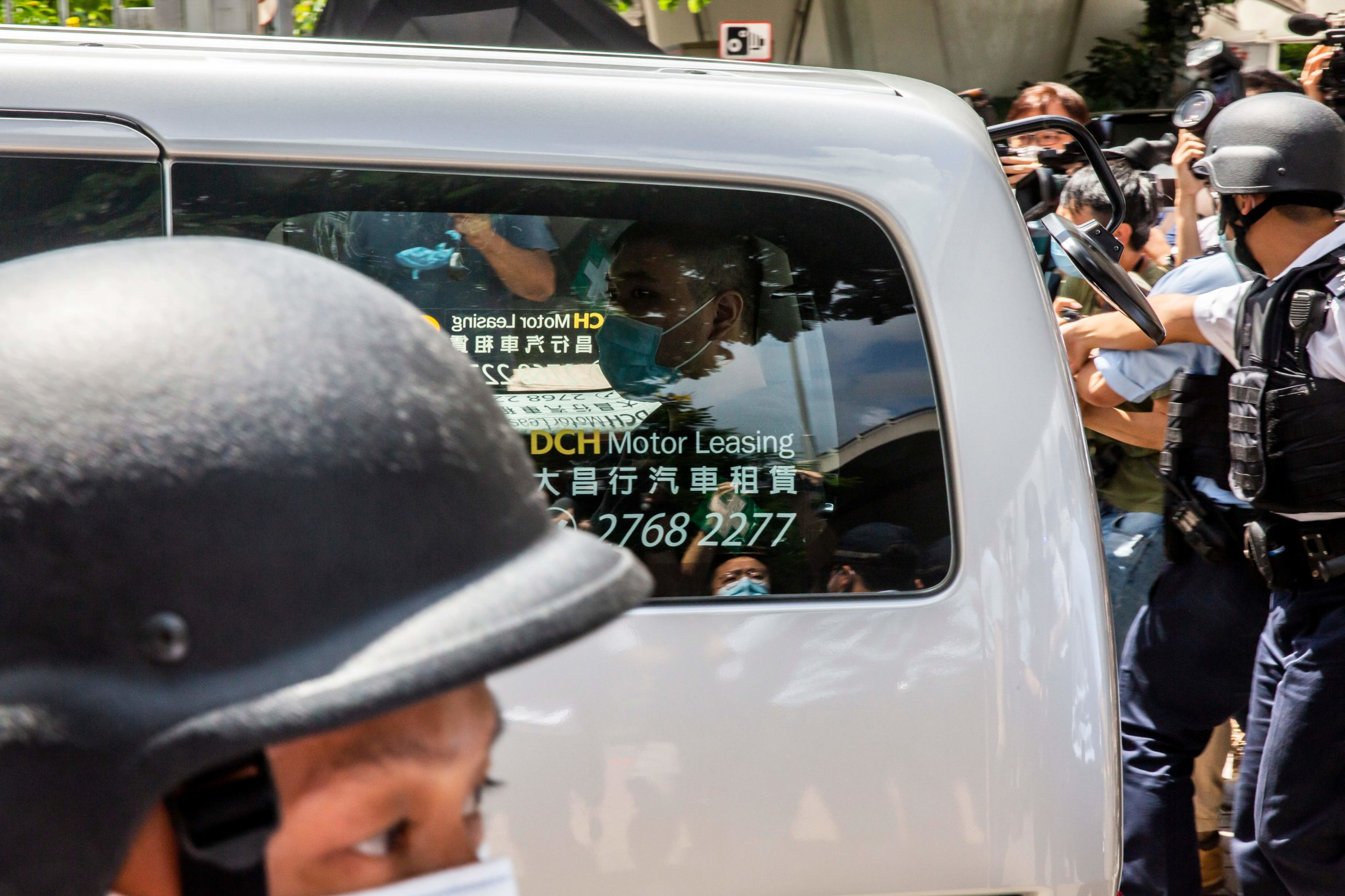 Tong Ying-kit arrives at a court in Hong Kong on July 6, 2020. (Isaac Lawrence/AFP via Getty Images)