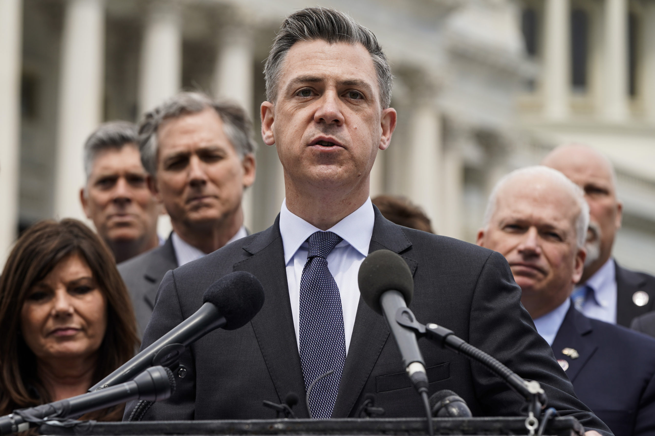 WASHINGTON, DC - APRIL 21: Rep. Jim Banks (R-IN) speaks to the media with members of the Republican Study Committee about Iran on April 21, 2021 in Washington, DC. The group has proposed legislation that would expand sanctions on Iran and aim to prevent the U.S. reentering the Iran deal. (Photo by Joshua Roberts/Getty Images)