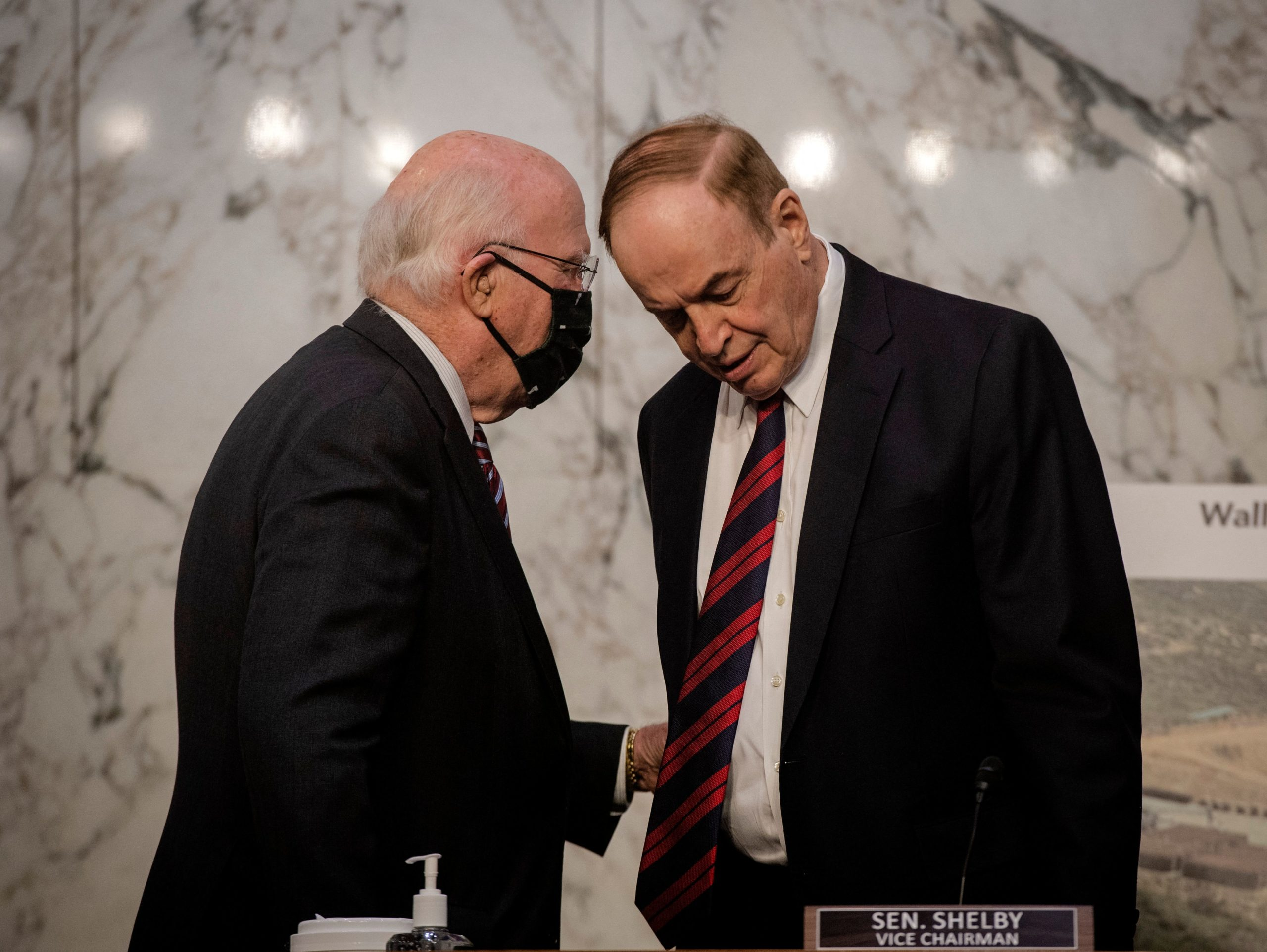 Sen. Patrick Leahy talks with Sen. Richard Shelby before a Senate Appropriations Committee hearing in May. (BILL O'LEARY/POOL/AFP via Getty Images)