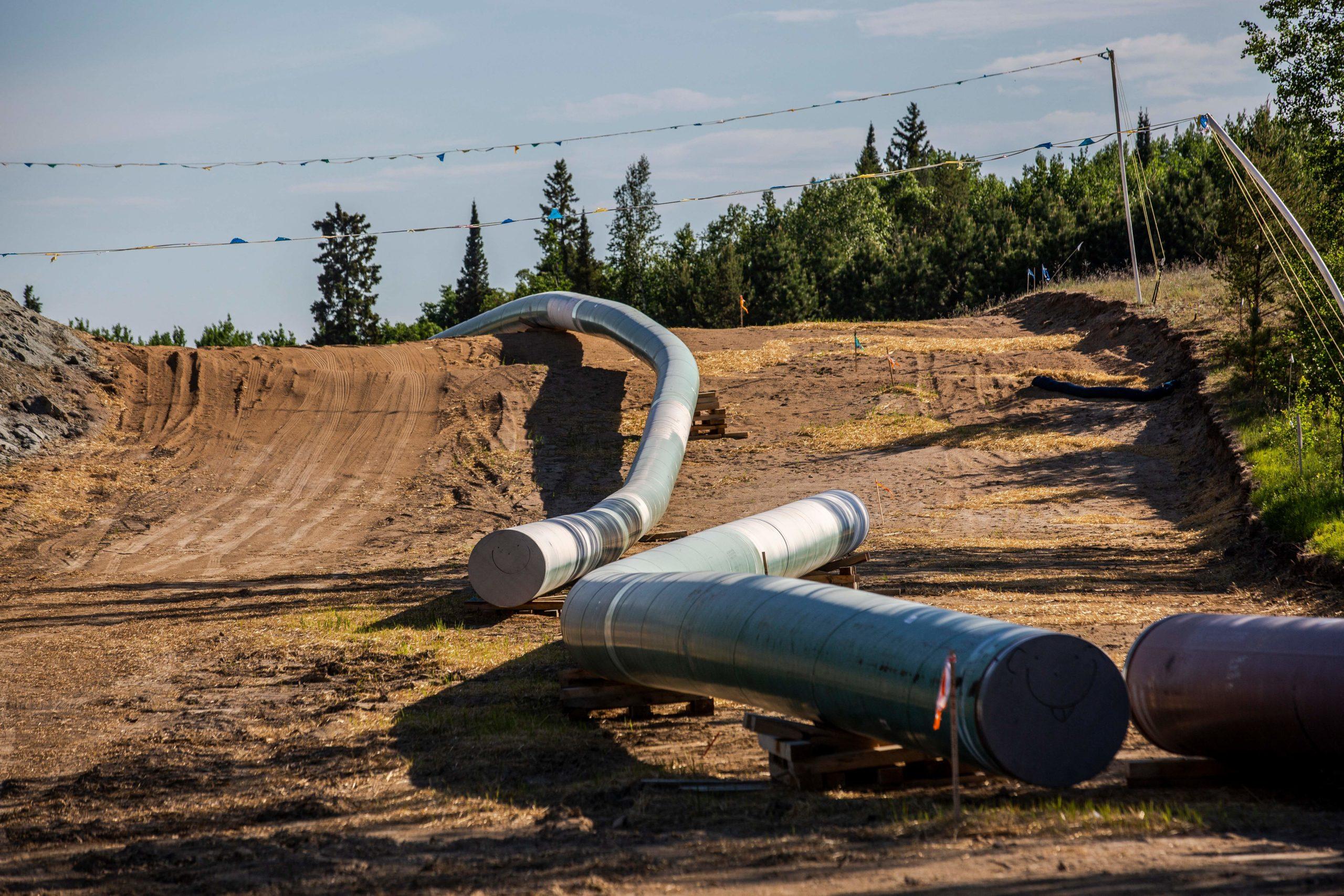 A pipeline that will flow through North Dakota and Minnesota is seen near Wauburn, Minnesota on June 5, 2021. (Kerem Yucel/AFP via Getty Images)