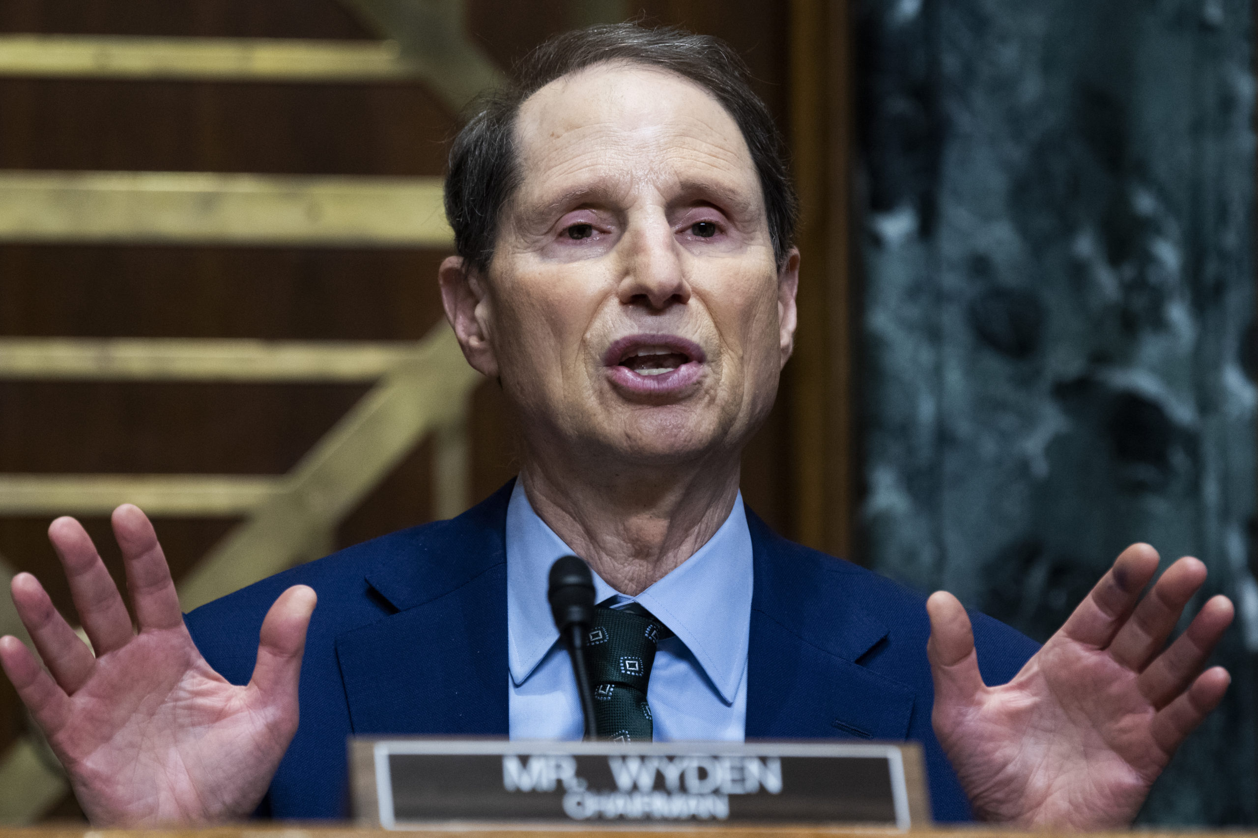 Senate Finance Committee Chairman Ron Wyden speaks during a June 8 hearing. (Tom Williams/Pool/Getty Images)
