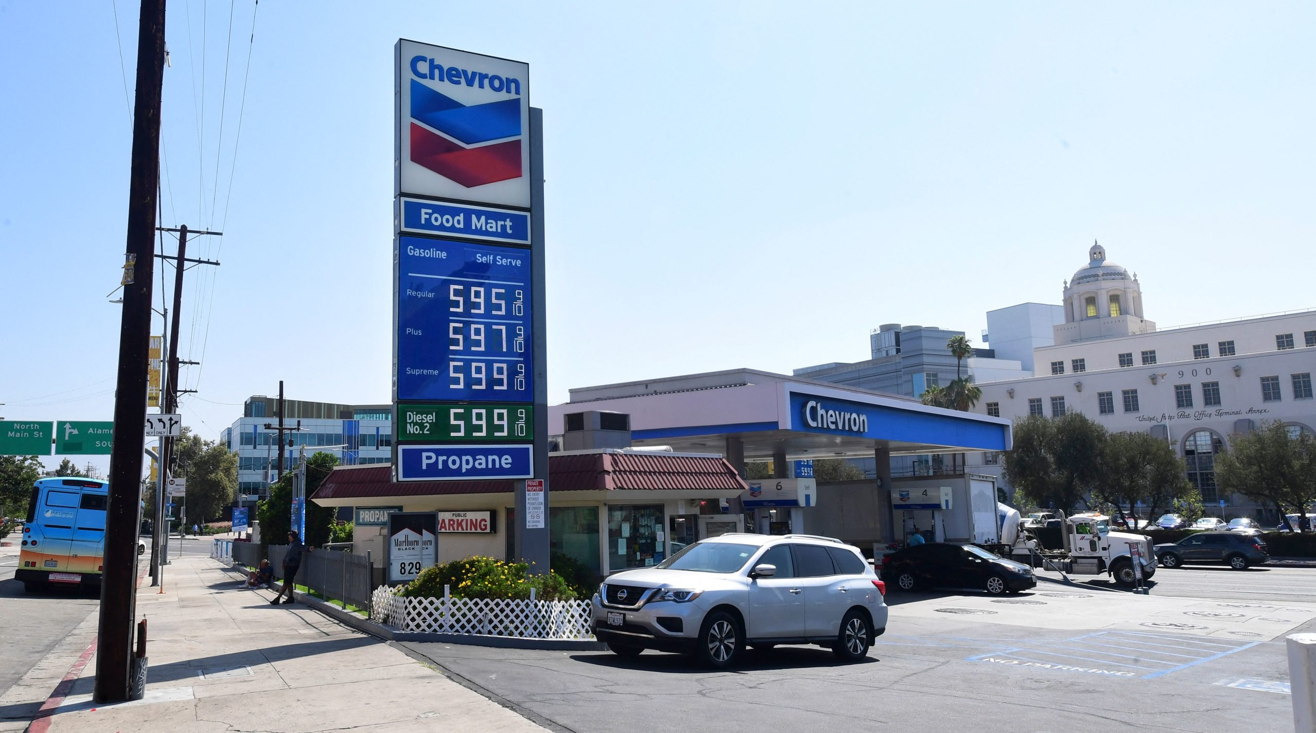 Gas prices are posted in downtown Los Angeles, California on June 22. (Frederic J. Brown/AFP via Getty Images)