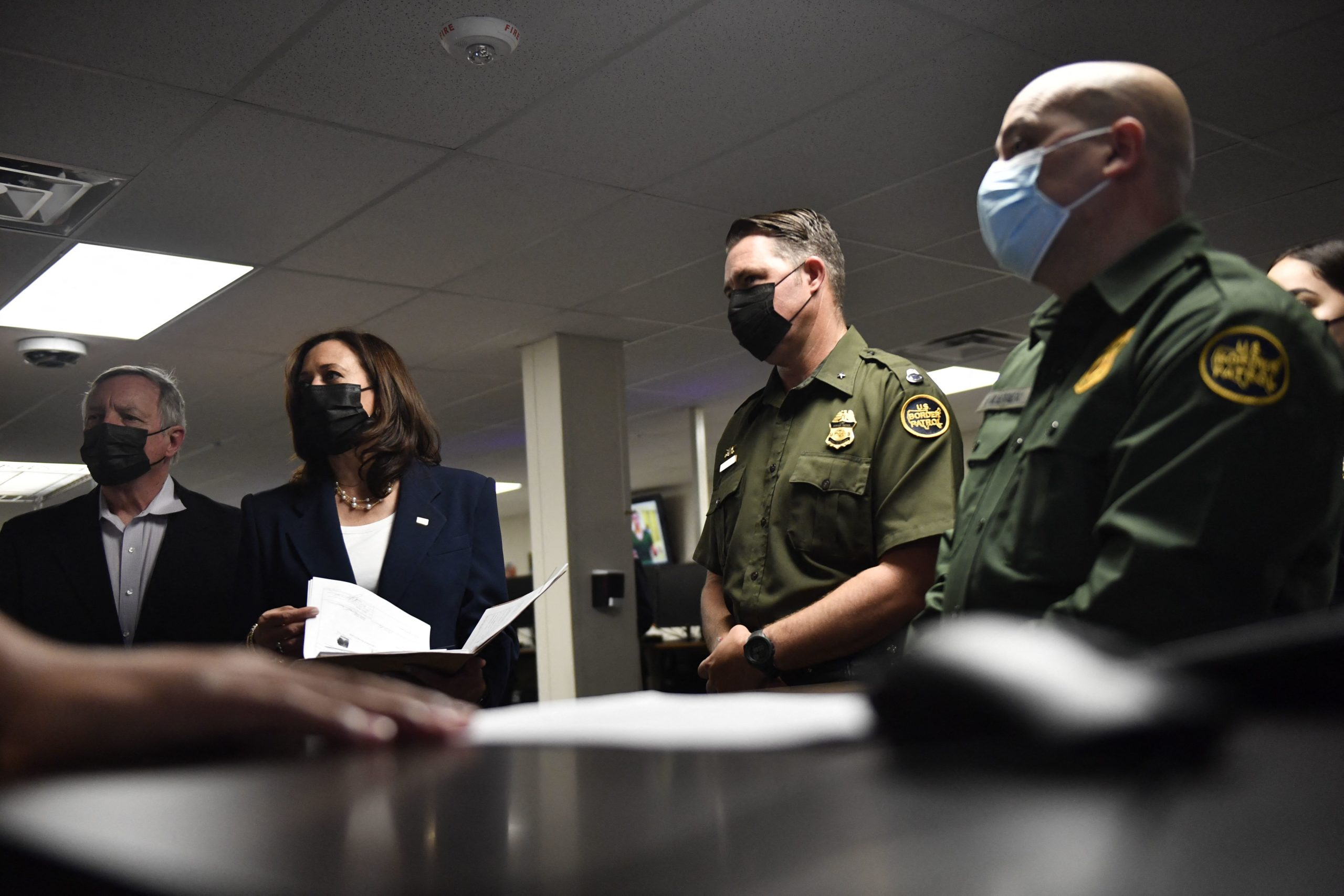 US Vice President Kamala Harris (2nd-L) tours the El Paso US Customs and Border Protection Central Processing Center, on June 25, 2021 in El Paso, Texas. (Photo by PATRICK T. FALLON/AFP via Getty Images)
