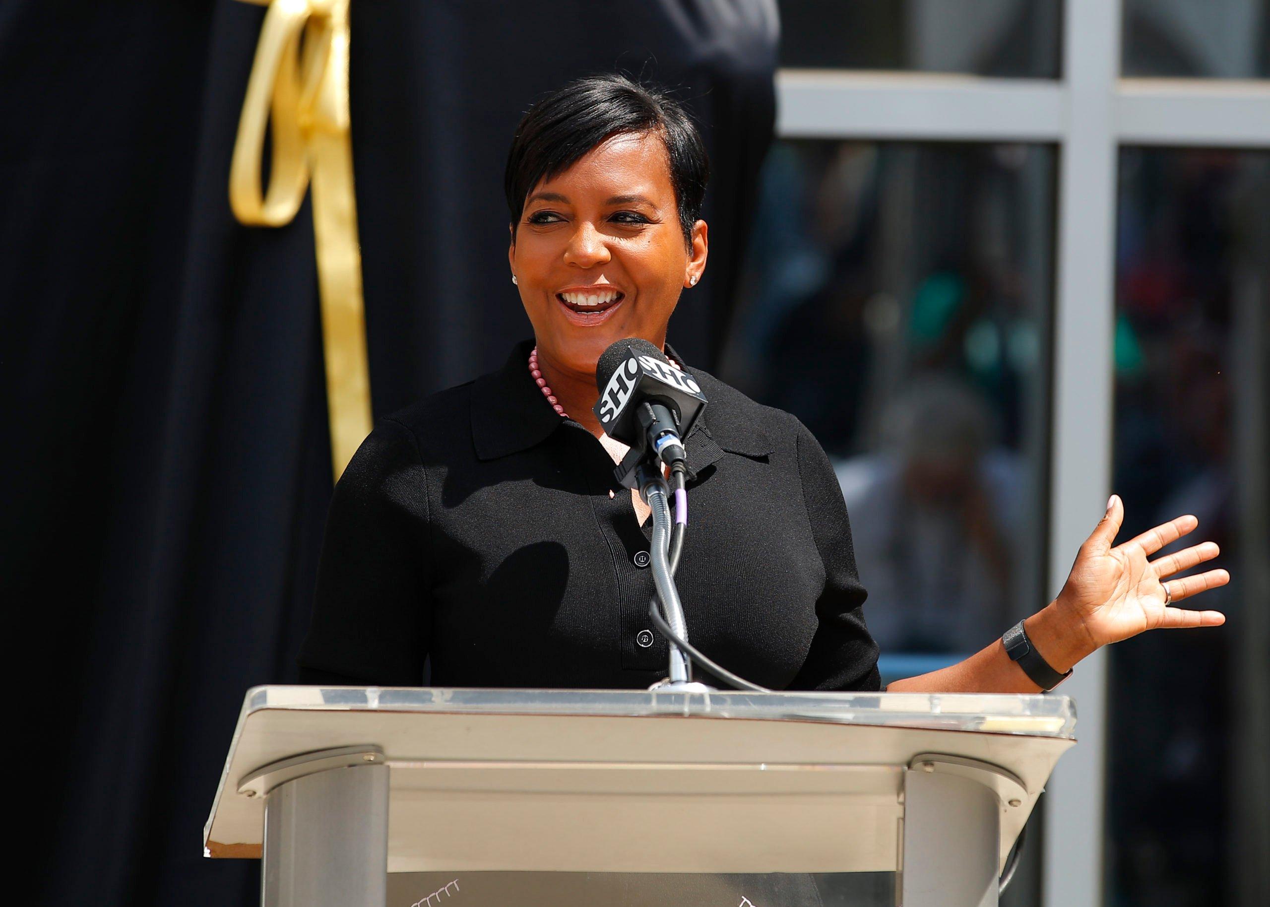 ATLANTA, GA - JUNE 25: Mayor of Atlanta, Keisha Lance Bottoms speaks prior to the unveiling of the Evander Holyfield statue at State Farm Arena on June 25, 2021 in Atlanta, Georgia. (Photo by Todd Kirkland/Getty Images)