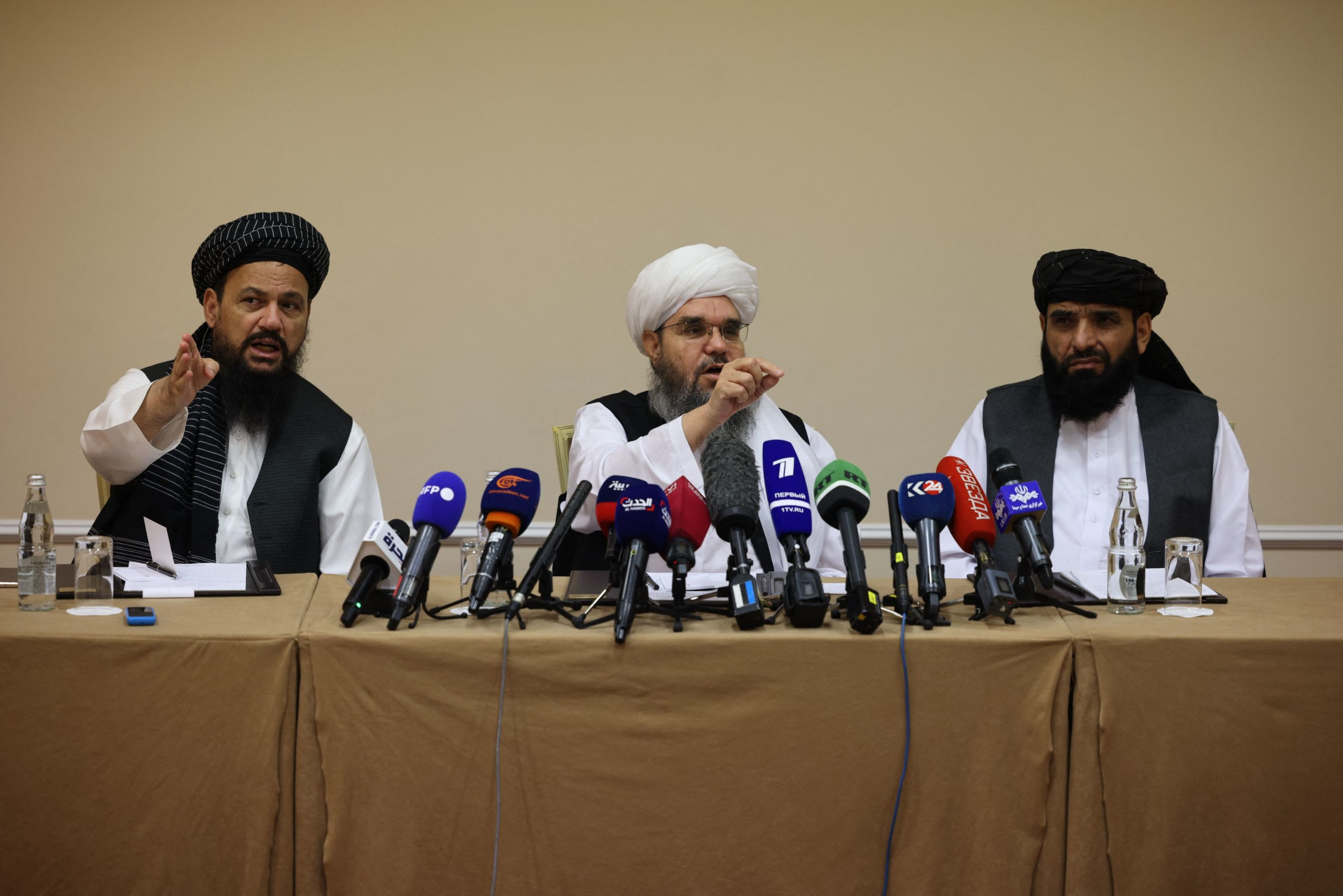 Taliban representatives attend a press conference in Moscow, Russia on Friday. (Dimitar Dilkoff/AFP via Getty Images)