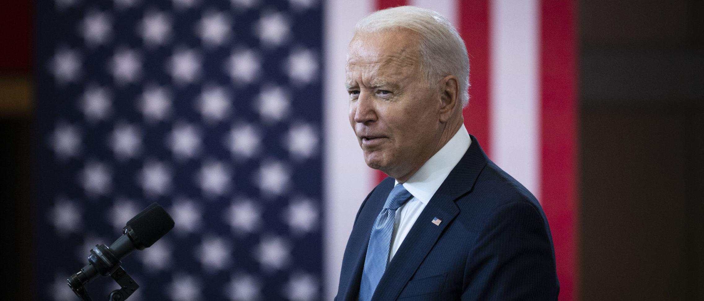 President Joe Biden speaks about voting rights on July 13 in Philadelphia, Pennsylvania. (Drew Angerer/Getty Images)