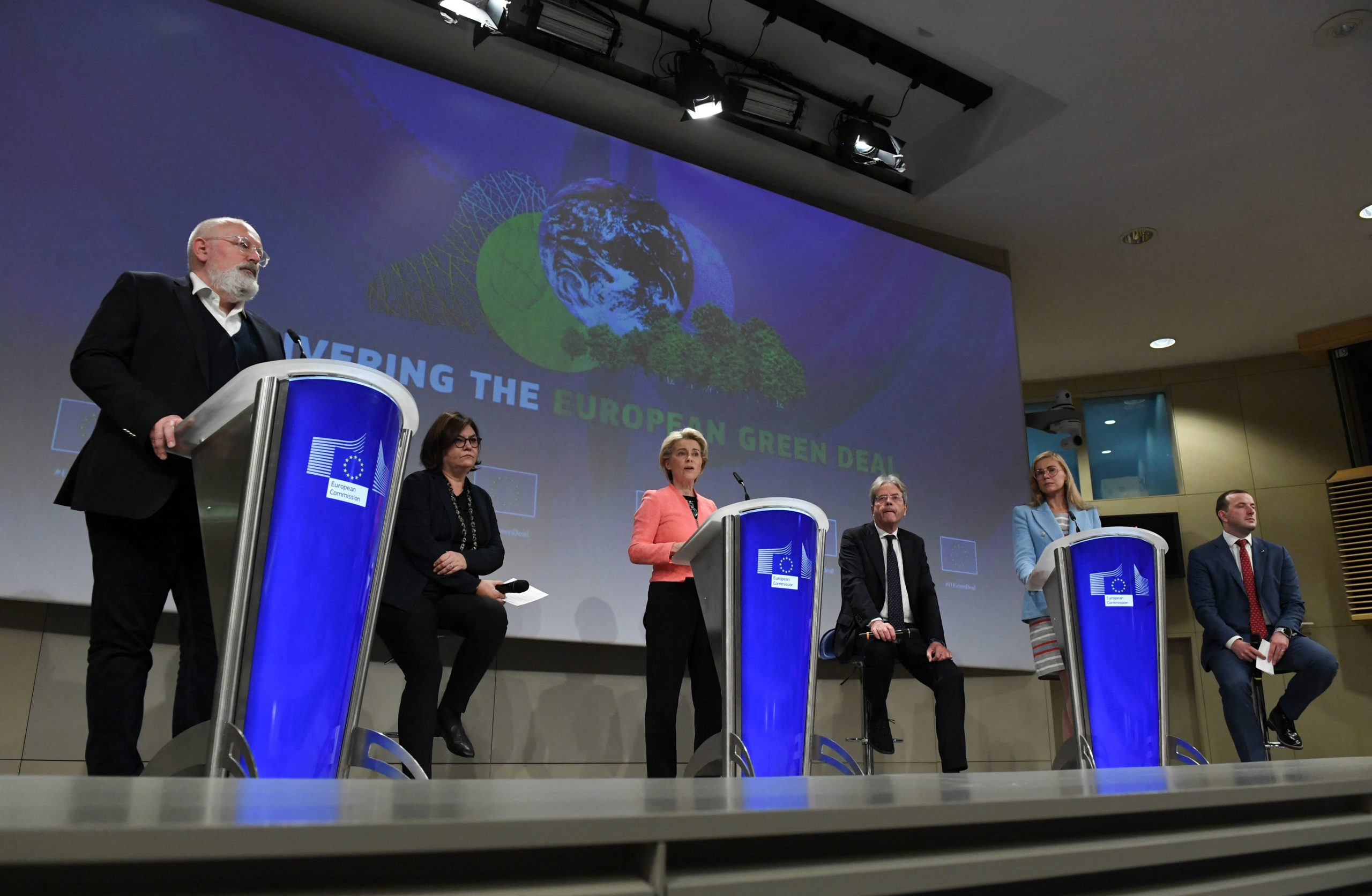 European Commission leaders unveil a wide-ranging green deal on Wednesday. (John Thys/AFP via Getty Images)