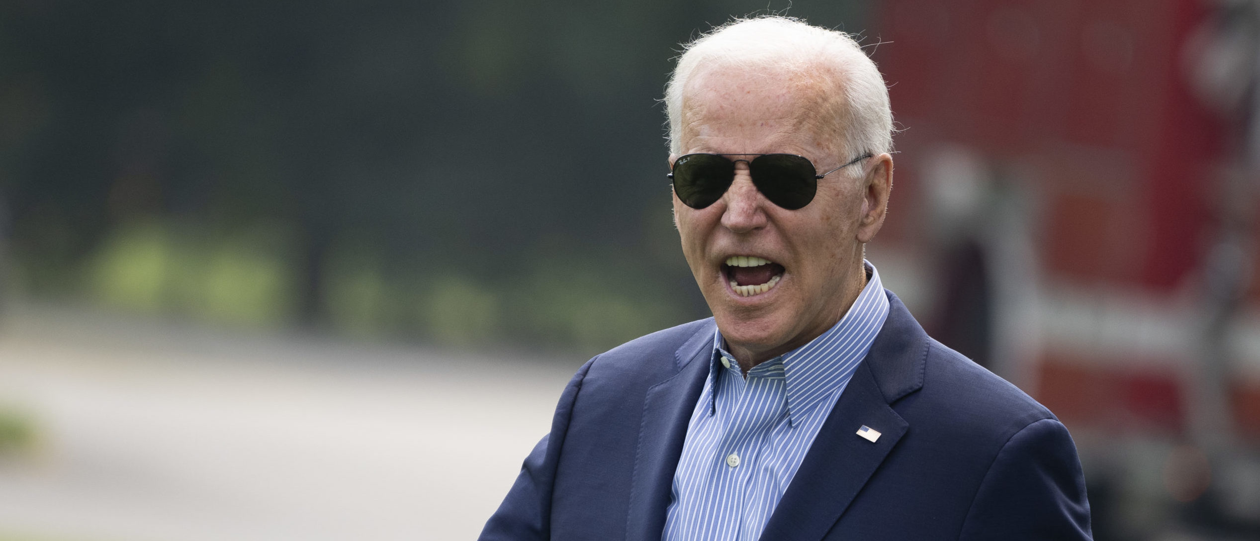WASHINGTON, DC - JULY 21: U.S. President Joe Biden reacts to shouted questions from reporters as he walks to Marine One on the South Lawn of the White House on July 21, 2021 in Washington, DC. Biden is traveling to the Cincinnati, Ohio area to visit a training center for the International Brotherhood of Electrical Workers and for a town hall event with CNN. (Photo by Drew Angerer/Getty Images)