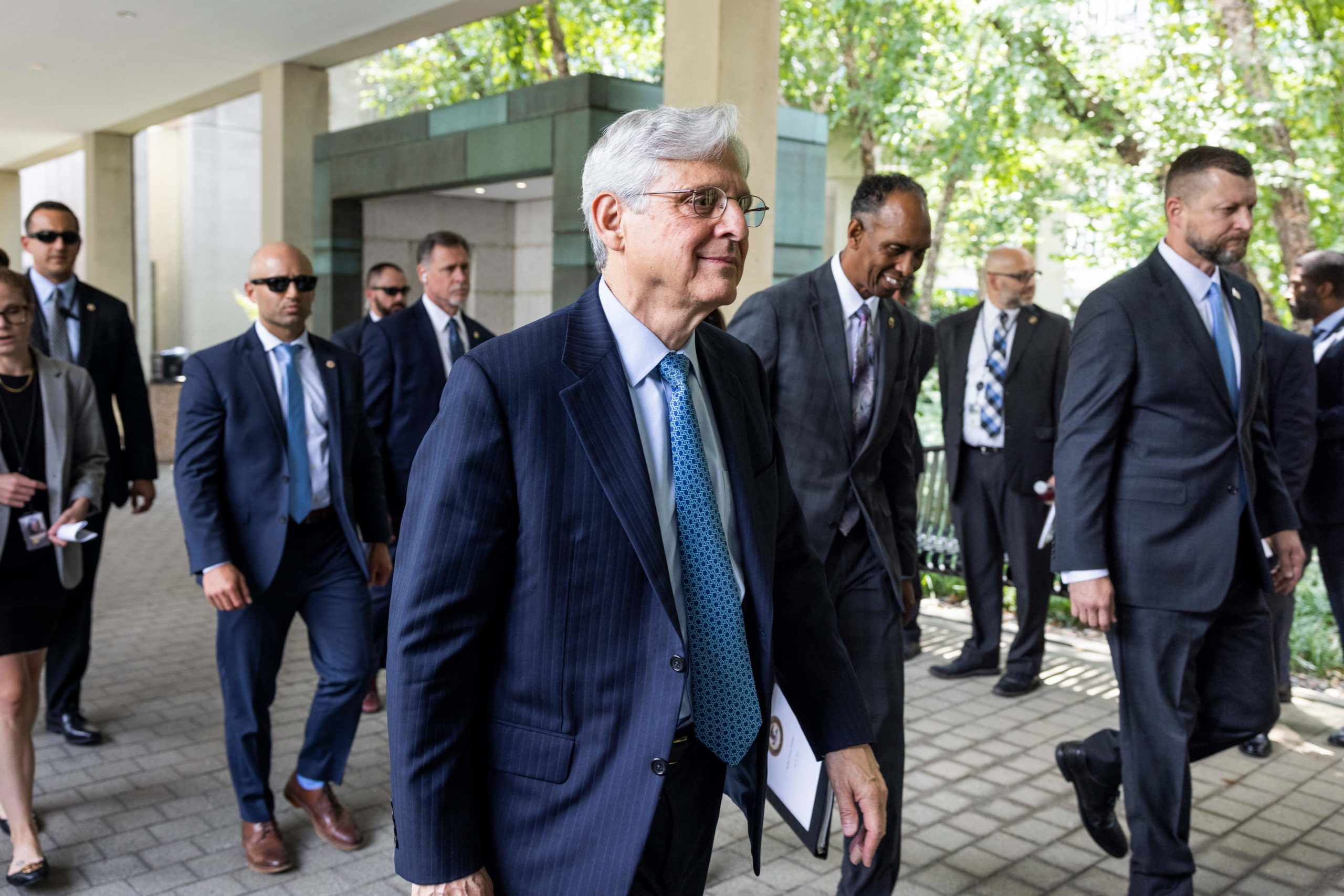 """US Attorney General Merrick Garland arrives to announce the launch of the Justice Department's """"five cross-jurisdictional trafficking strike forces"""" at the ATF in Washington, DC, on 22 July, 2021. (Photo by JIM LO SCALZO/POOL/AFP via Getty Images)"""
