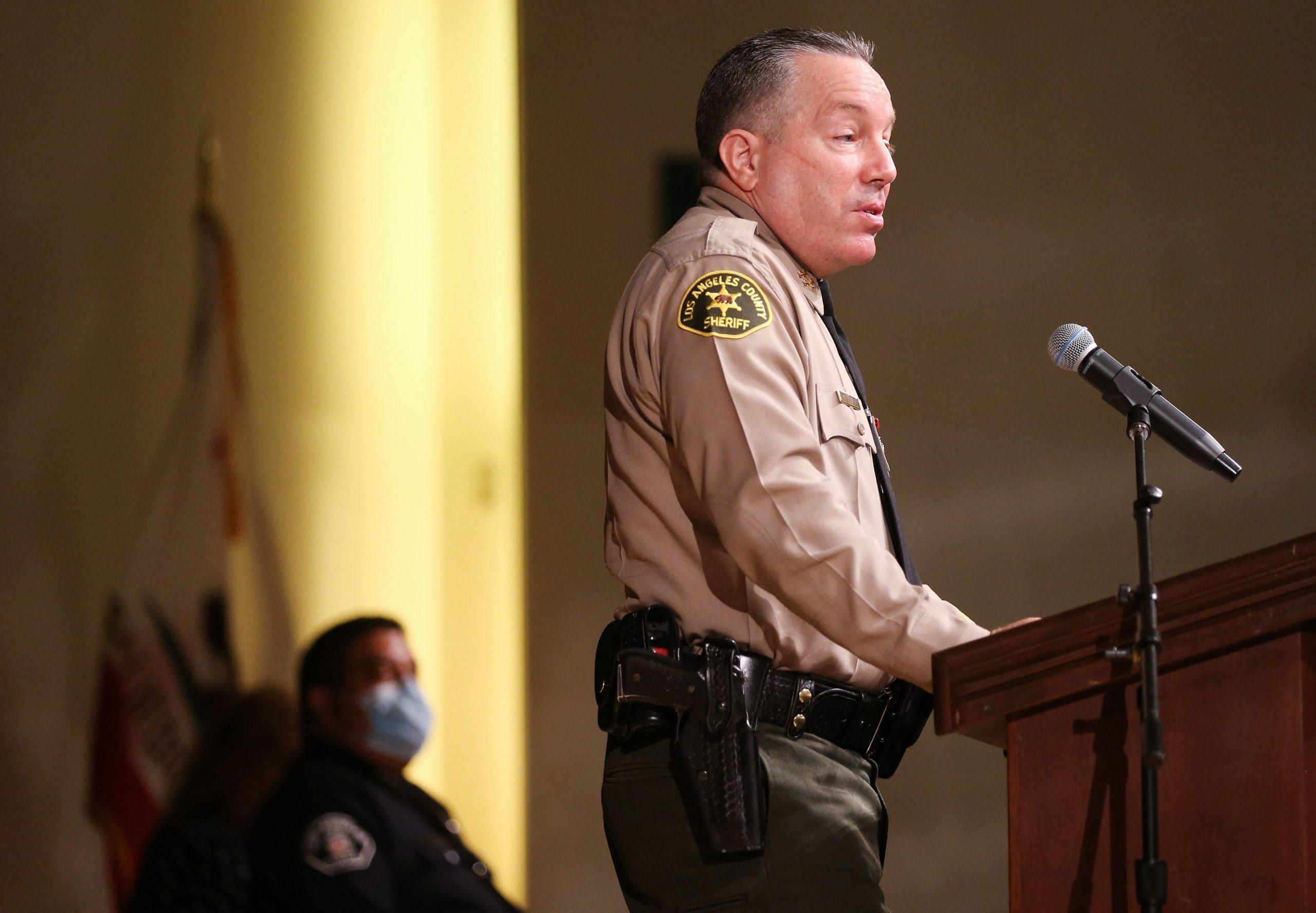 Los Angeles County Sheriff Alex Villanueva speaks on Aug. 21, 2020 in Monterey Park, California. (Mario Tama/Getty Images)
