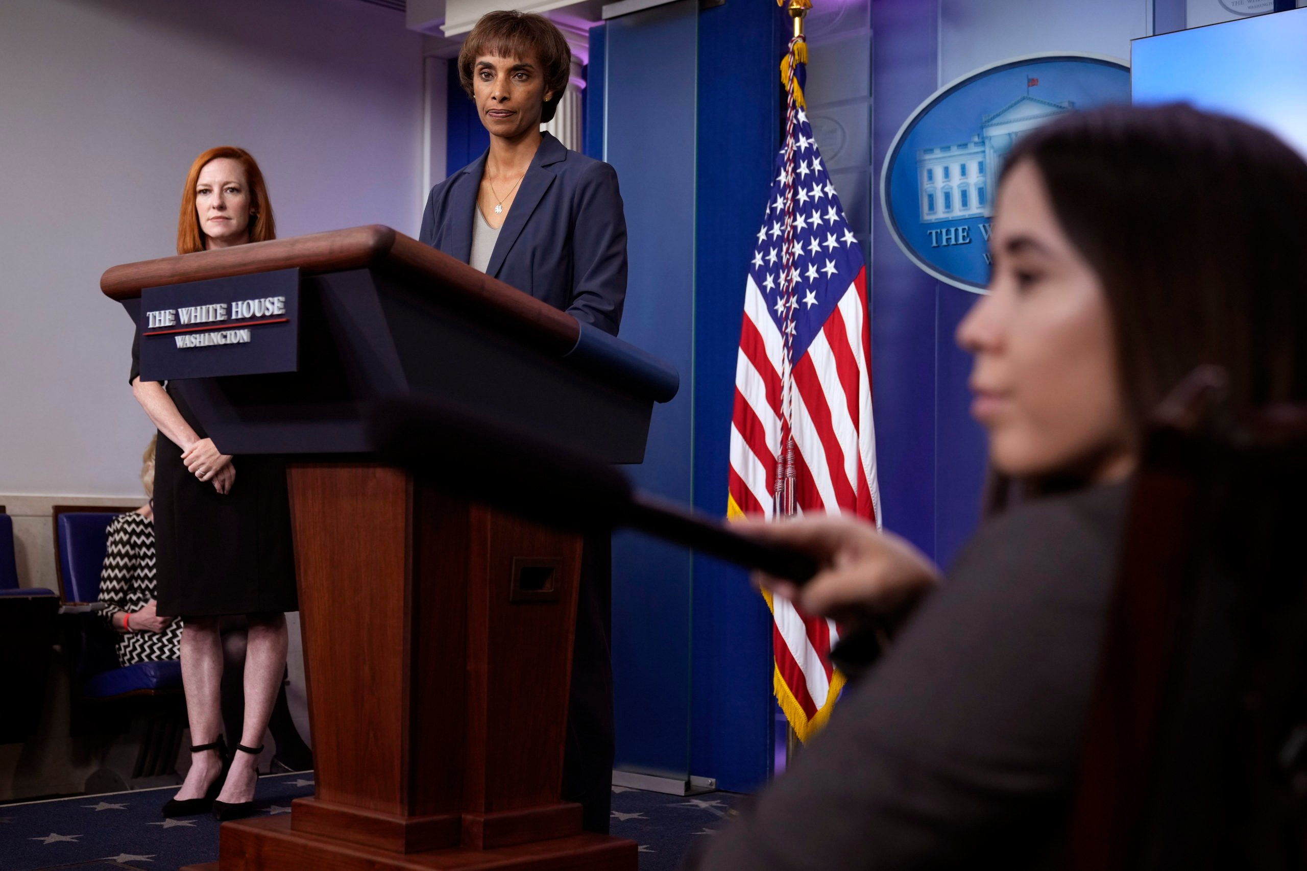 Chair of the Council of Economic Advisers Cecilia Rouse speaks during a press briefing on May 14. (Drew Angerer/Getty Images)