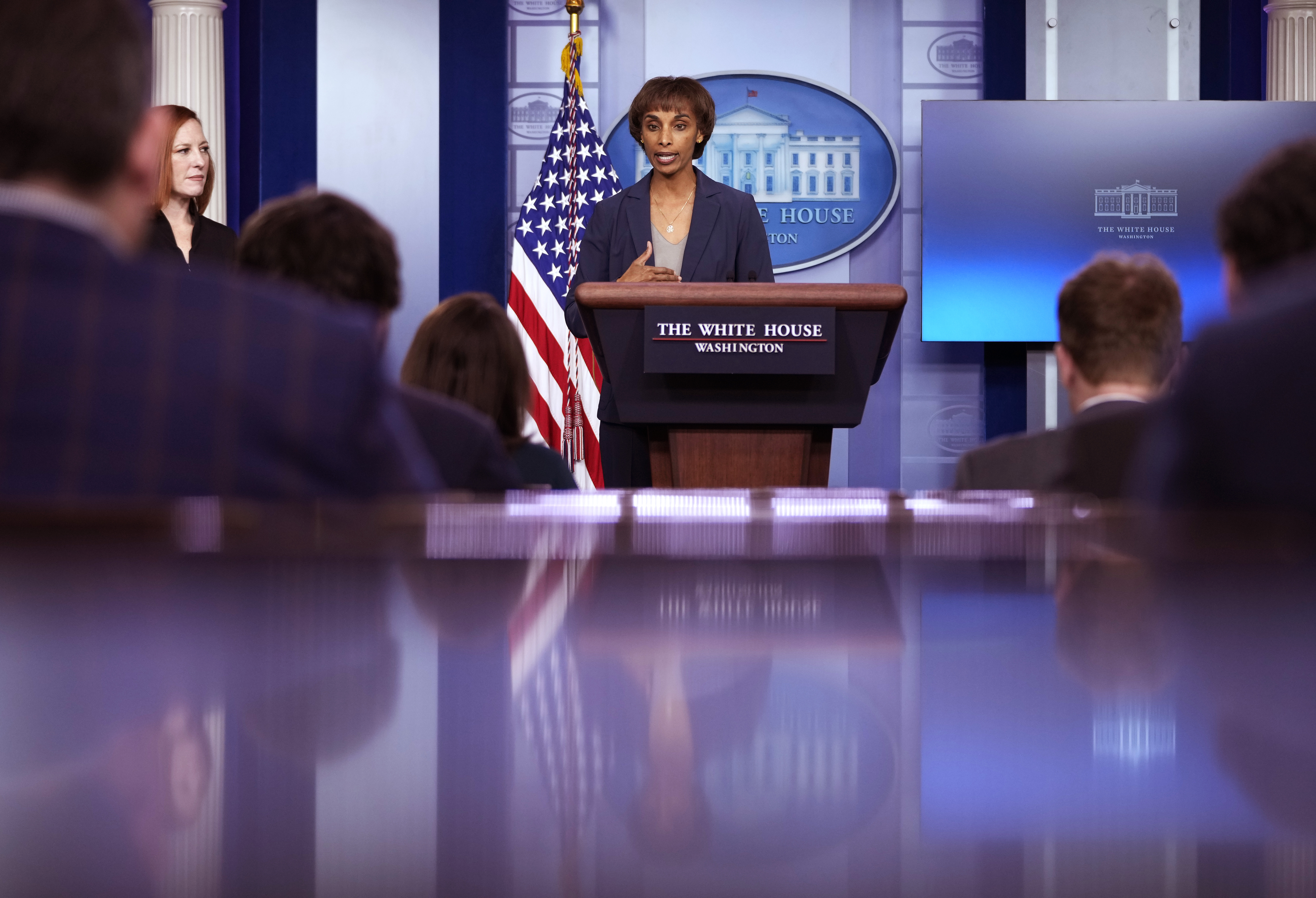Council of Economic Advisers Chair Cecilia Rouse speaks during a news conference on May 14. (Drew Angerer/Getty Images)