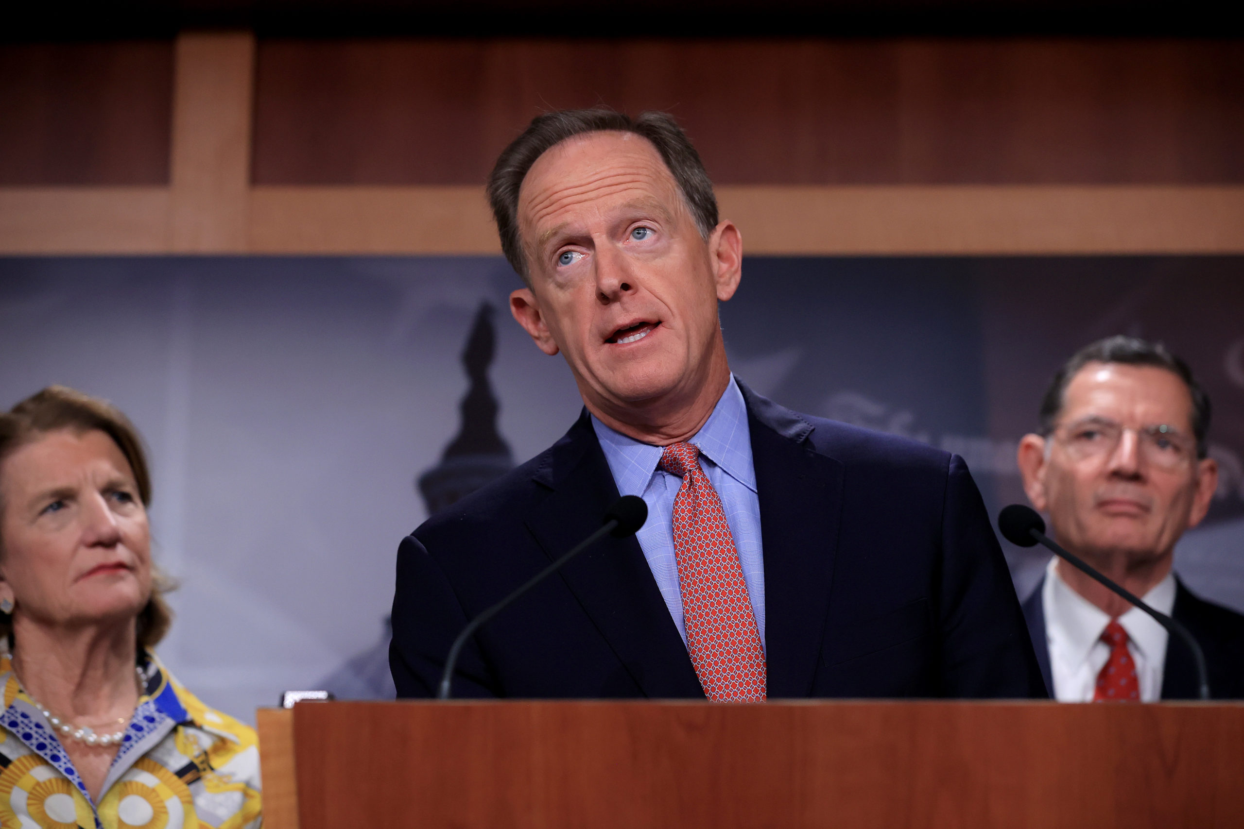 Sen. Pat Toomey speaks during a news conference on May 27. (Chip Somodevilla/Getty Images)