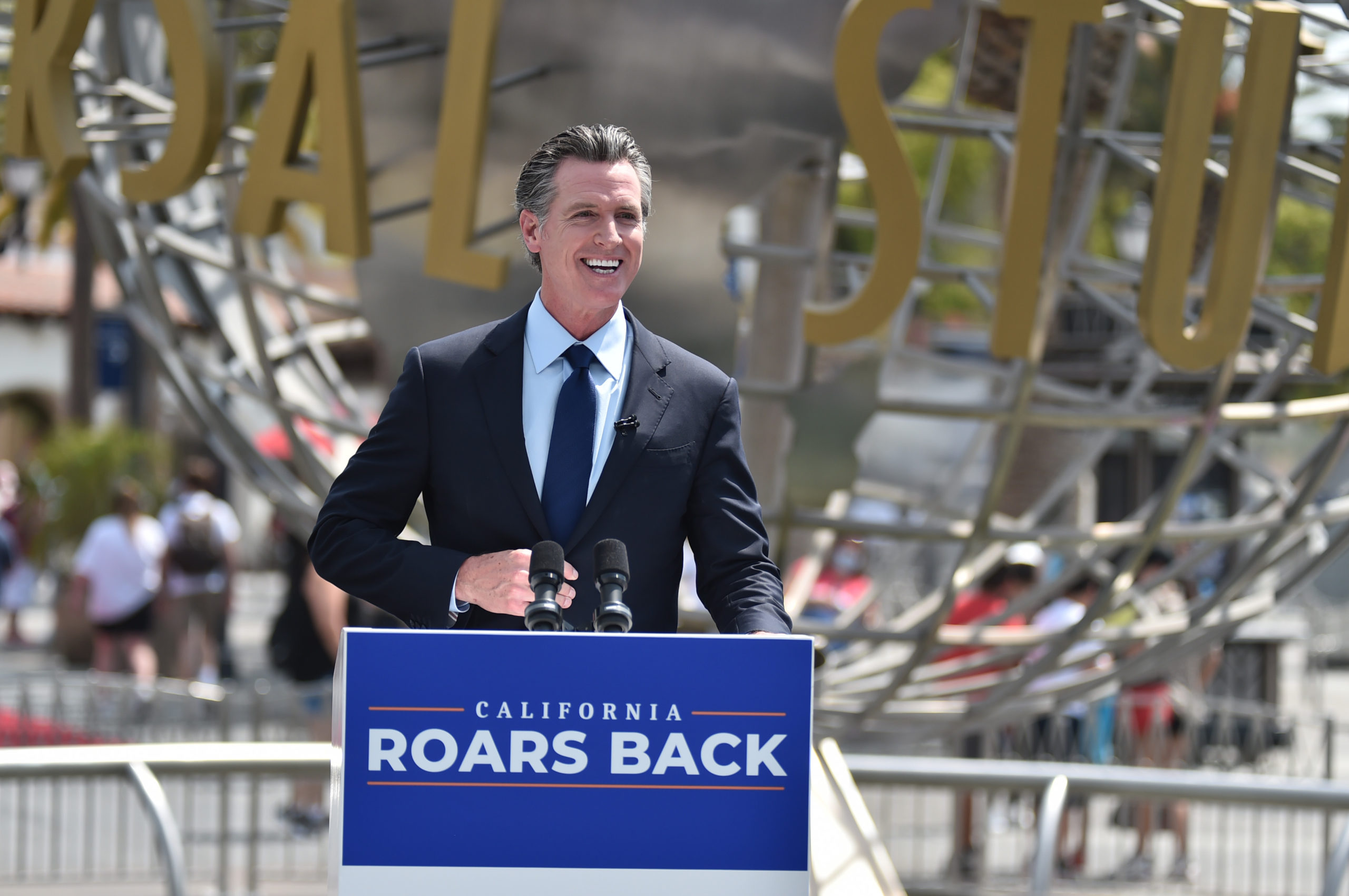 California Gov. Gavin Newsom attends a press conference celebrating the states official reopening at Universal Studios Hollywood on June 15. (Alberto E. Rodriguez/Getty Images)