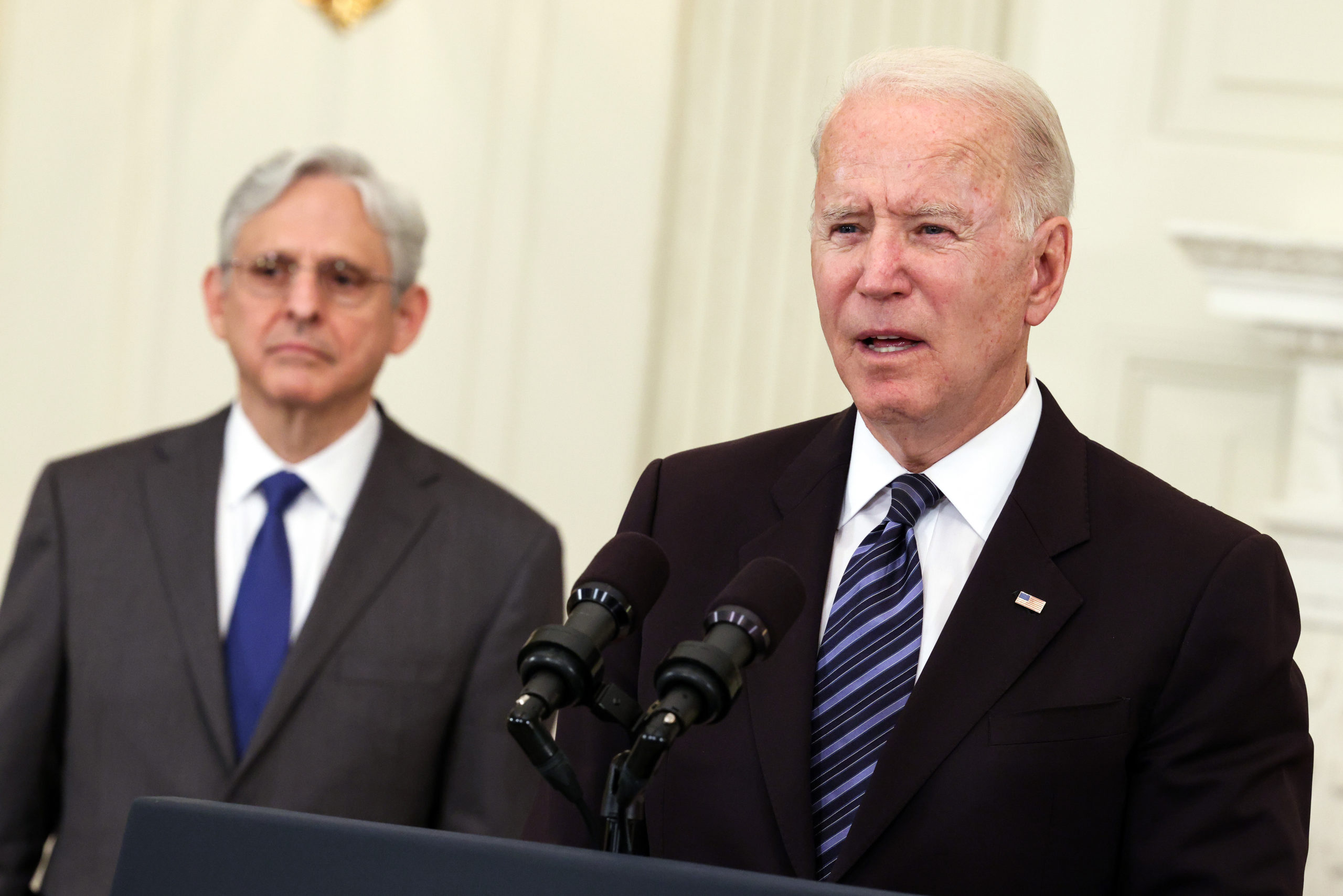 WASHINGTON, DC - JUNE 23: U.S. President Joe Biden, joined Attorney General Merrick Garland, speaks on gun crime prevention measures at the White House on June 23, 2021 in Washington, DC. Biden outlined new measures to curb gun violence including stopping the flow illegal guns and targeting rogue gun dealers. (Photo by Kevin Dietsch/Getty Images)