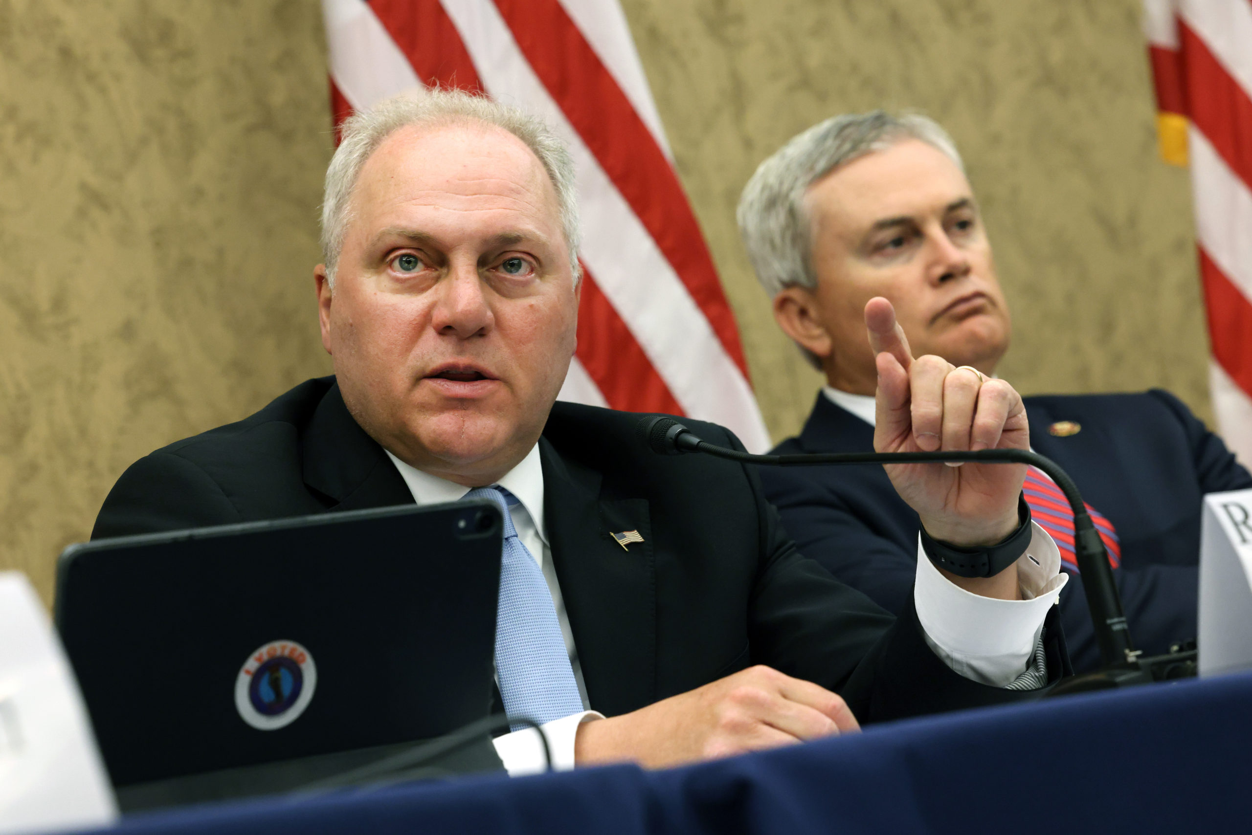 Rep. Steve Scalise speaks alongside Rep. James Comer during a hearing on June 29. (Kevin Dietsch/Getty Images)