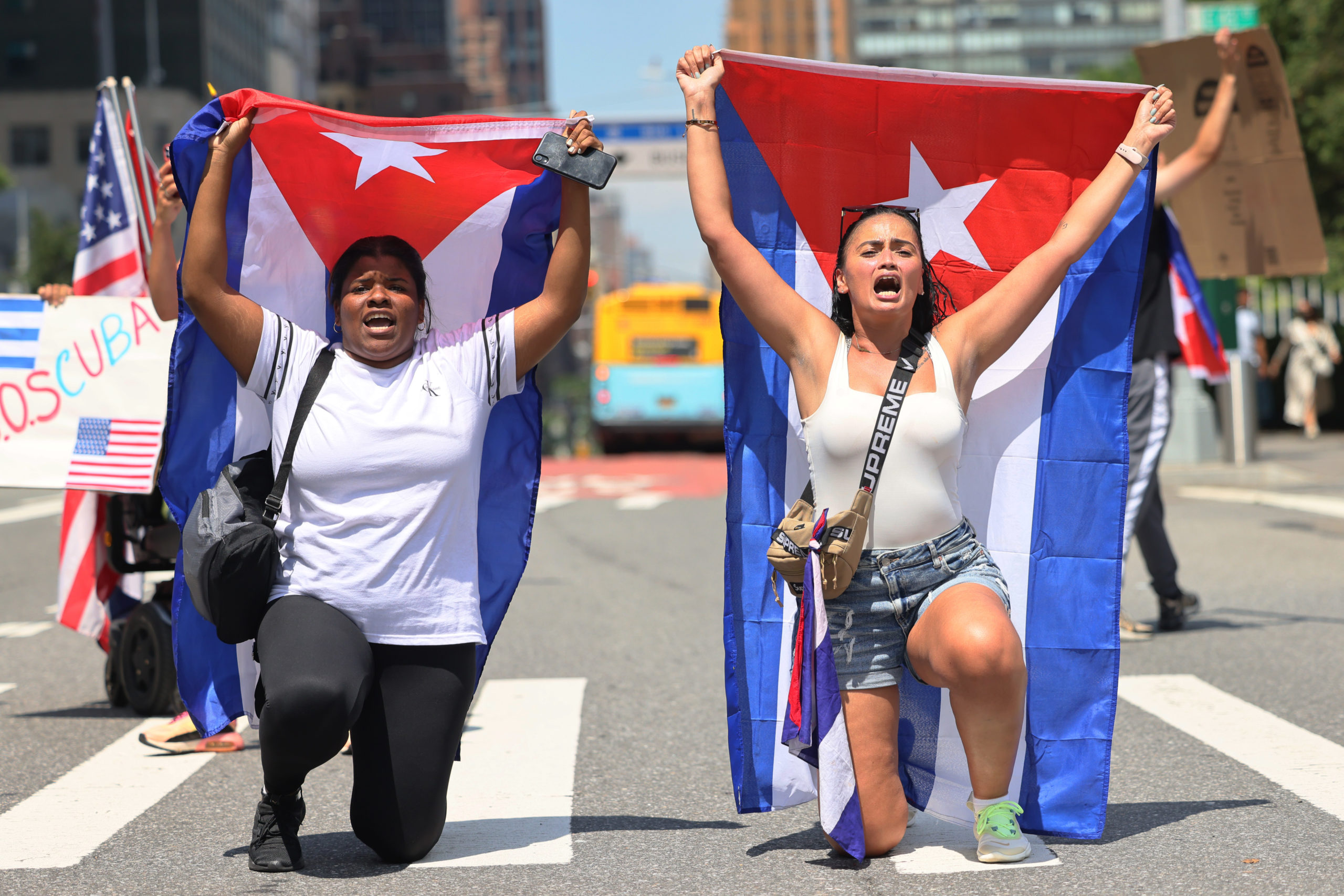 People Rally Outside United Nations In Support Of Cuban Protesters